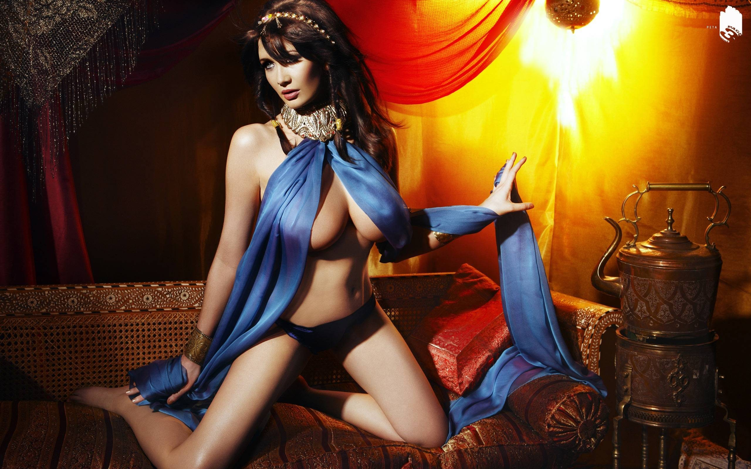 brunettes boobs woman couch HD Wallpaper