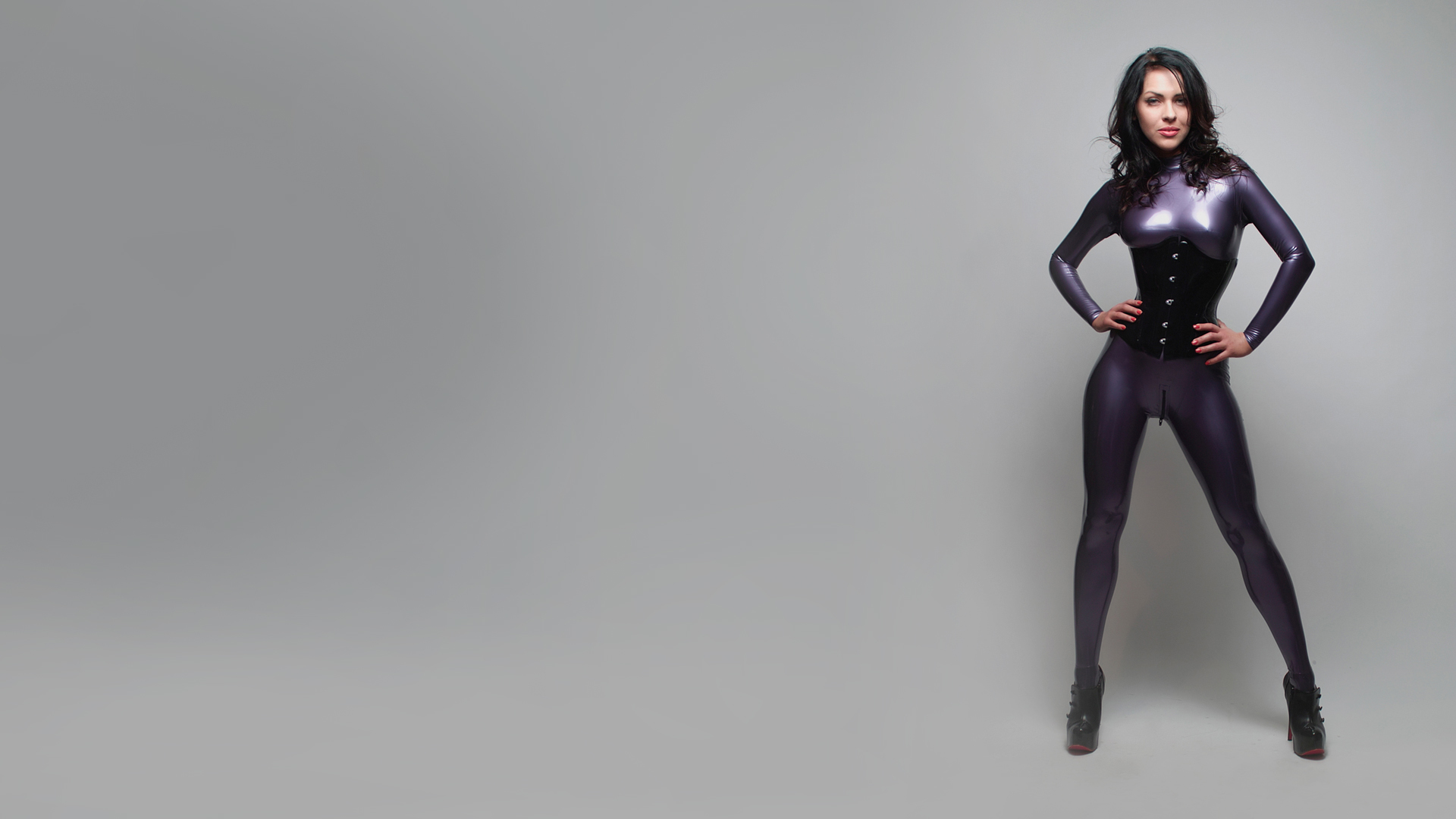 brunettes boobs woman latex HD Wallpaper