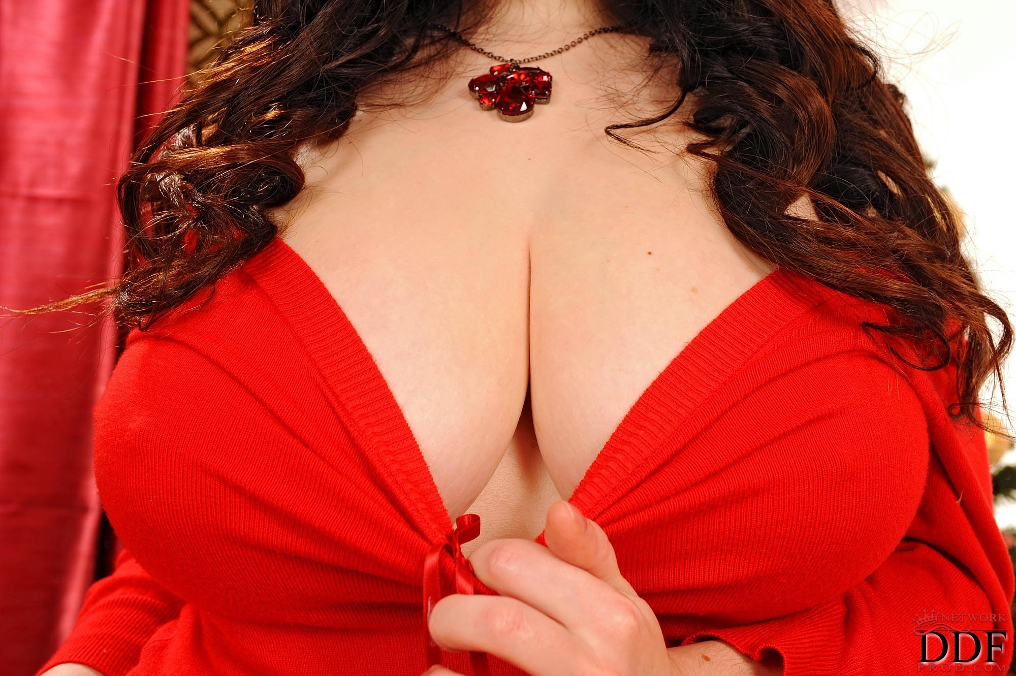 brunettes boobs woman red HD Wallpaper