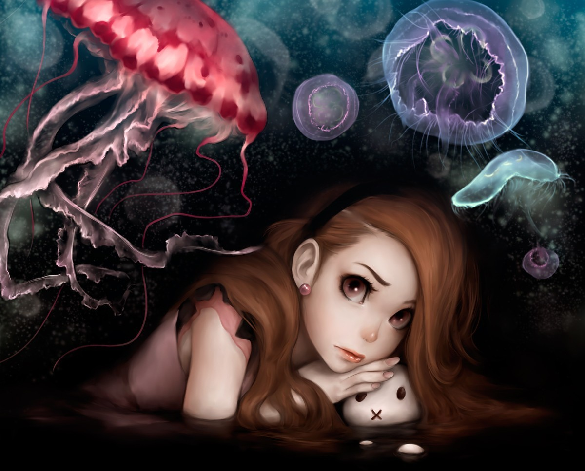 brunettes brown eyes jellyfish HD Wallpaper
