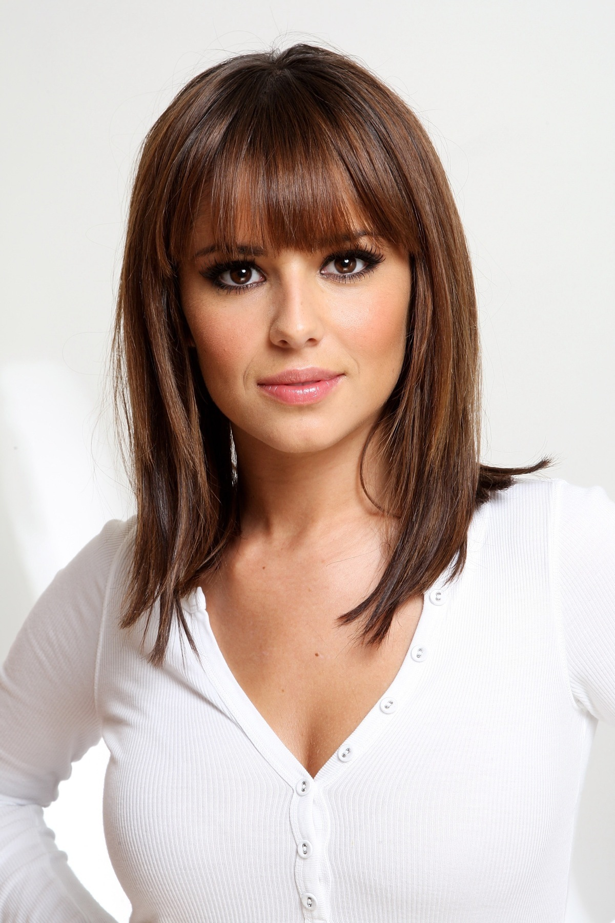 brunettes cheryl cole bangs HD Wallpaper