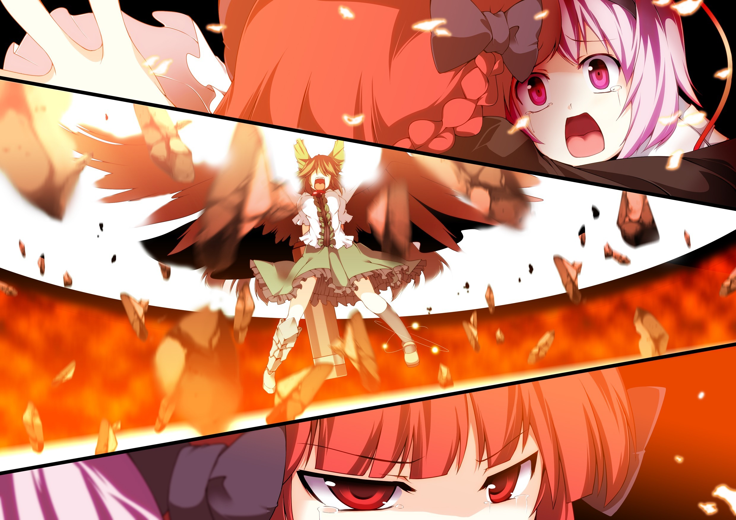 brunettes close-up touhou wings