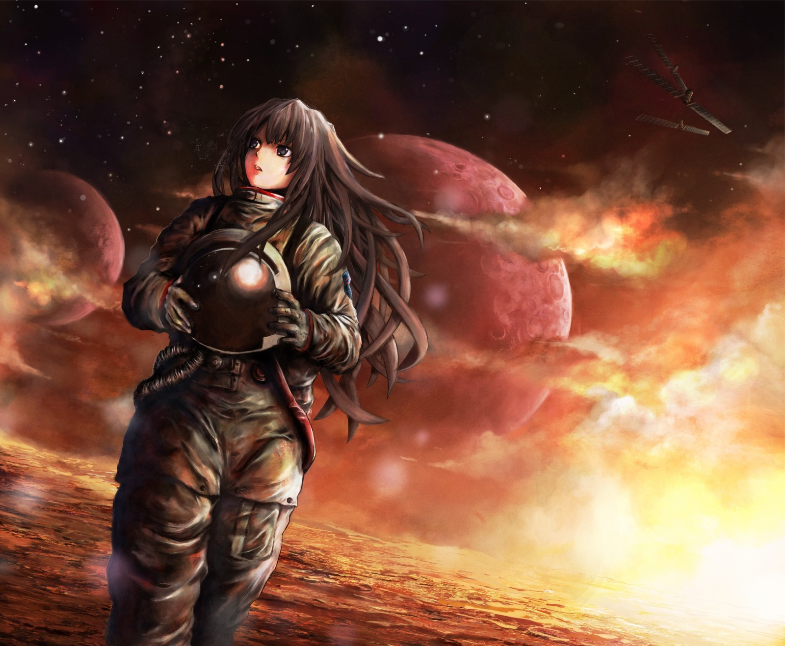 brunettes outer space red HD Wallpaper
