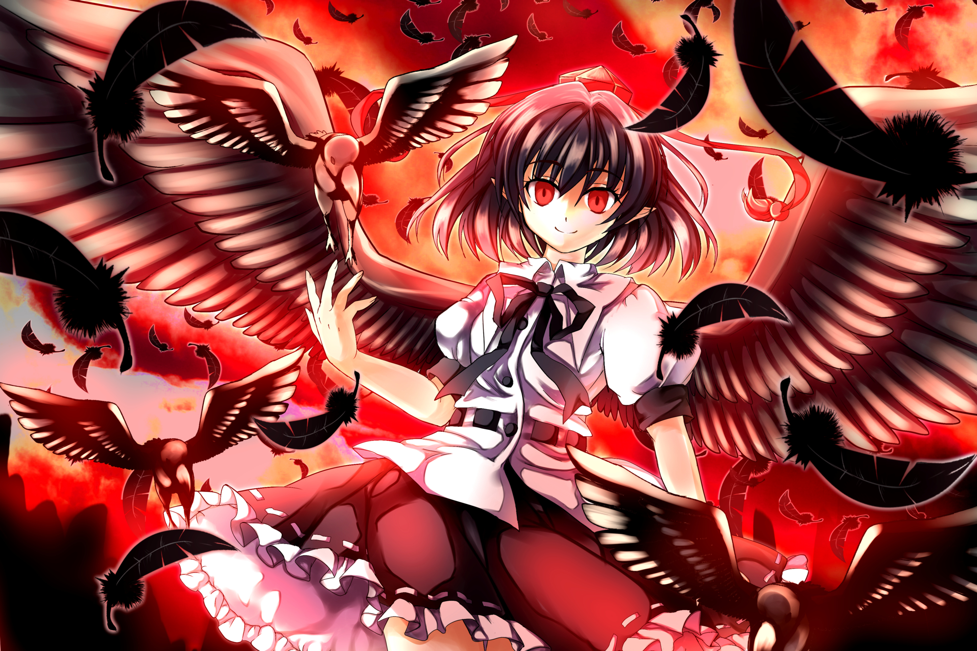 brunettes sunset touhou wings