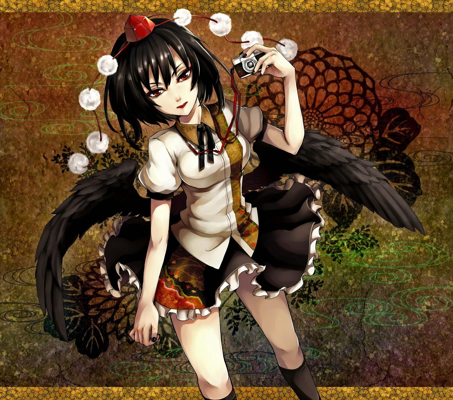 brunettes touhou wings Flowers HD Wallpaper