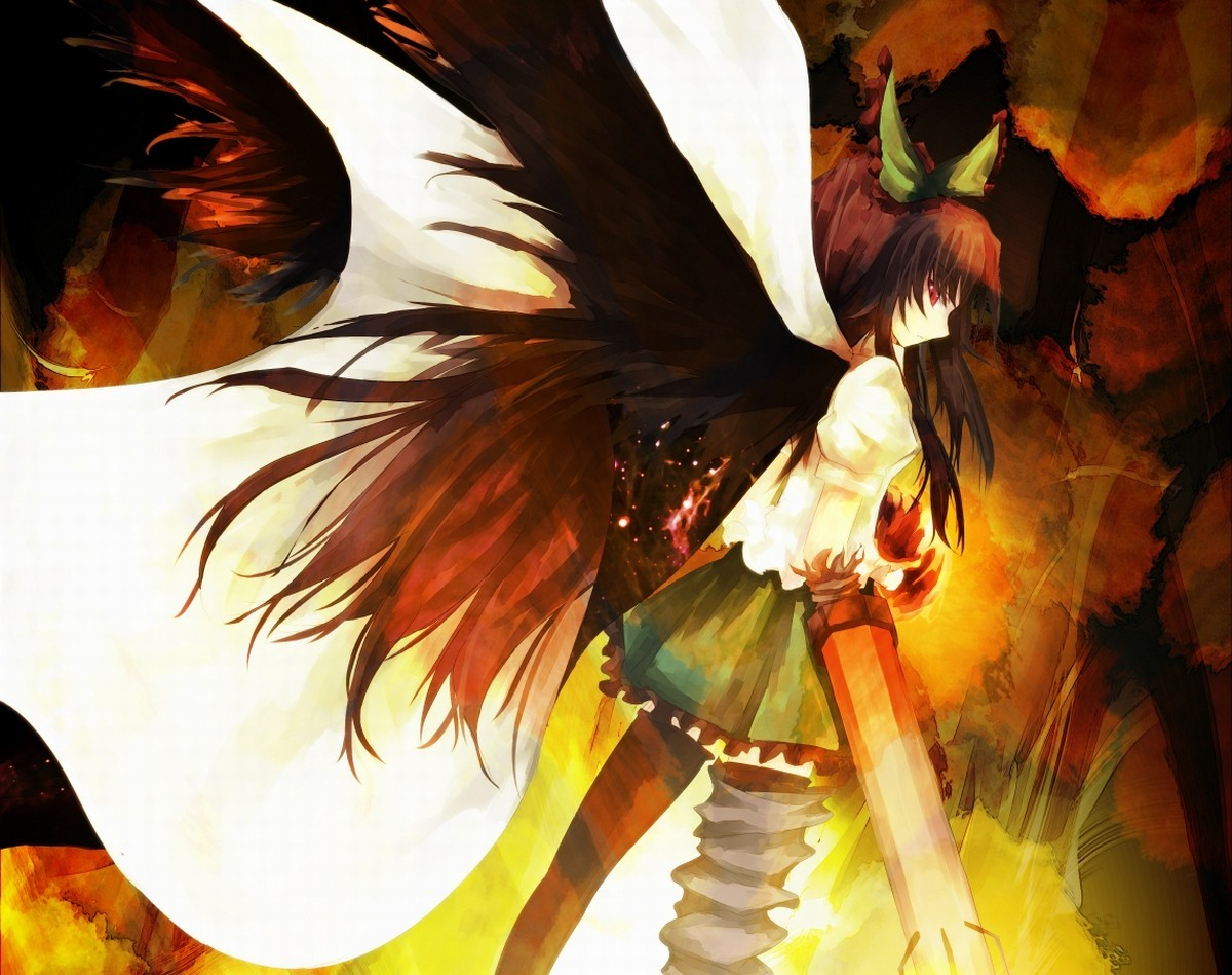 brunettes touhou wings outer HD Wallpaper