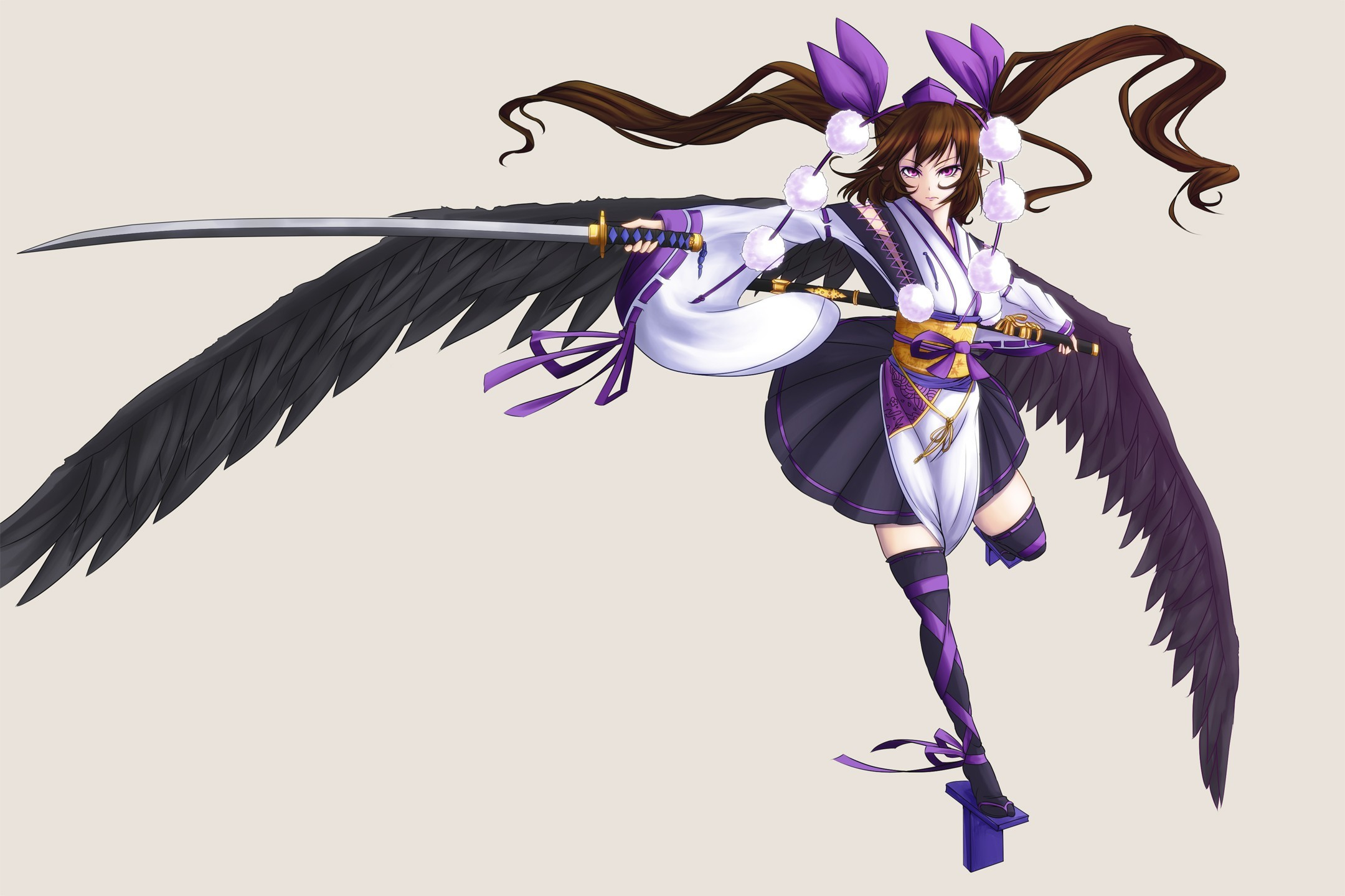 brunettes touhou wings stockings HD Wallpaper