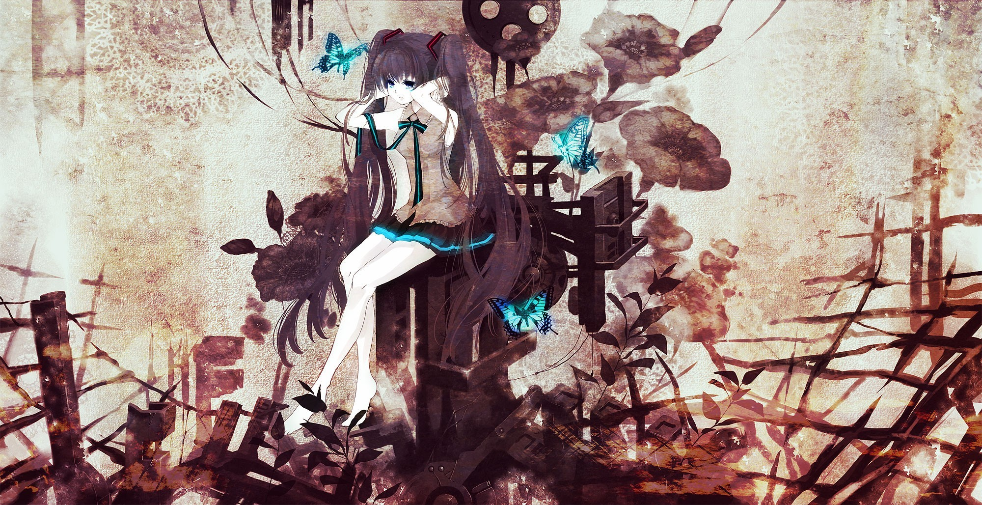 brunettes vocaloid Flowers hatsune HD Wallpaper