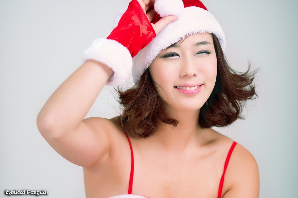 brunettes woman asians santa HD Wallpaper