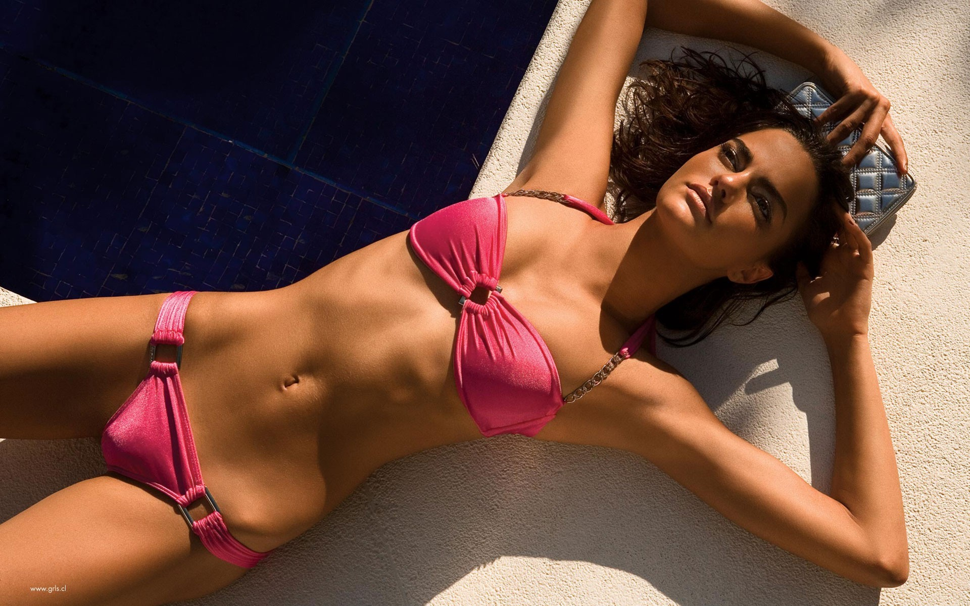brunettes woman bikini models HD Wallpaper