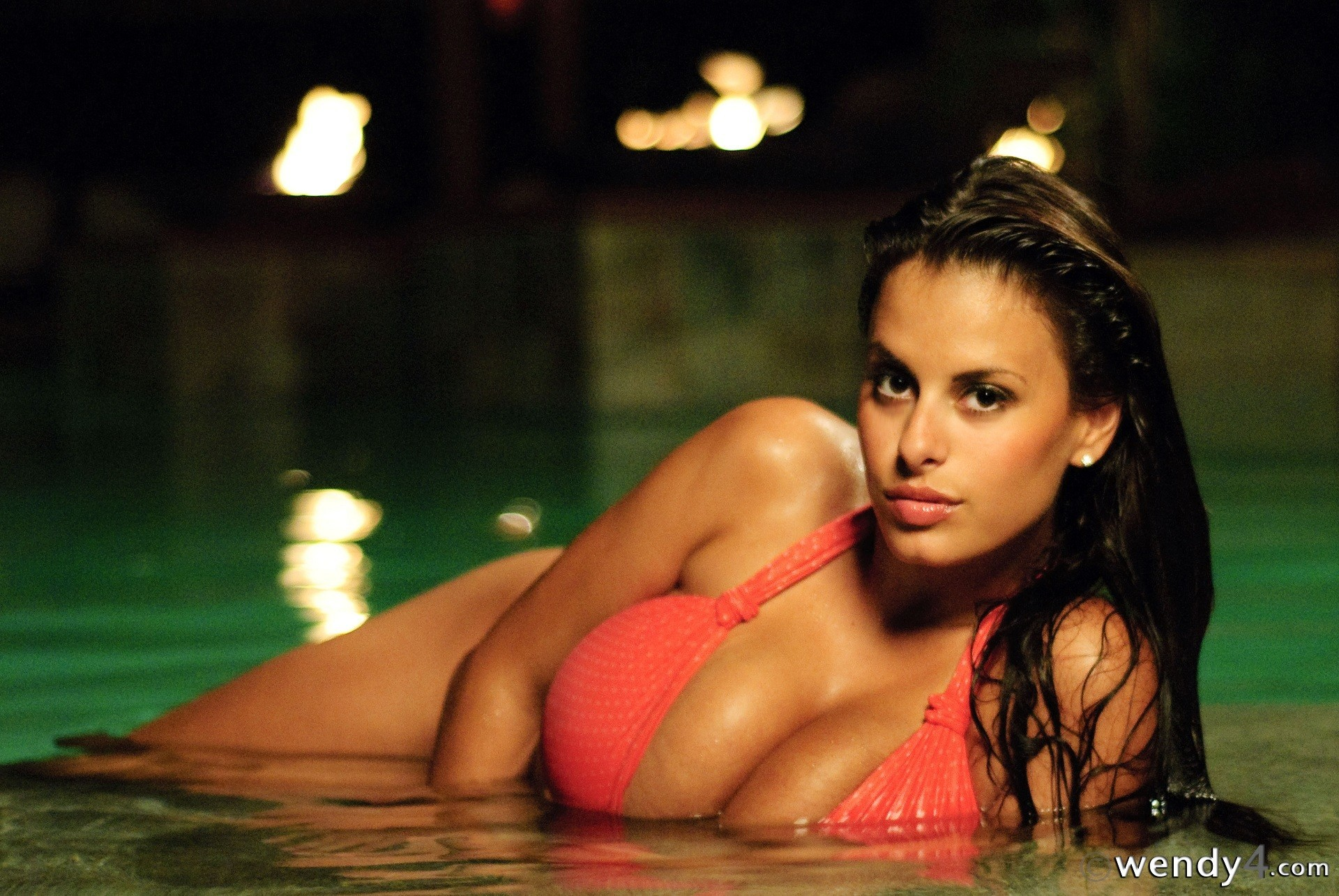 brunettes woman bikini night HD Wallpaper