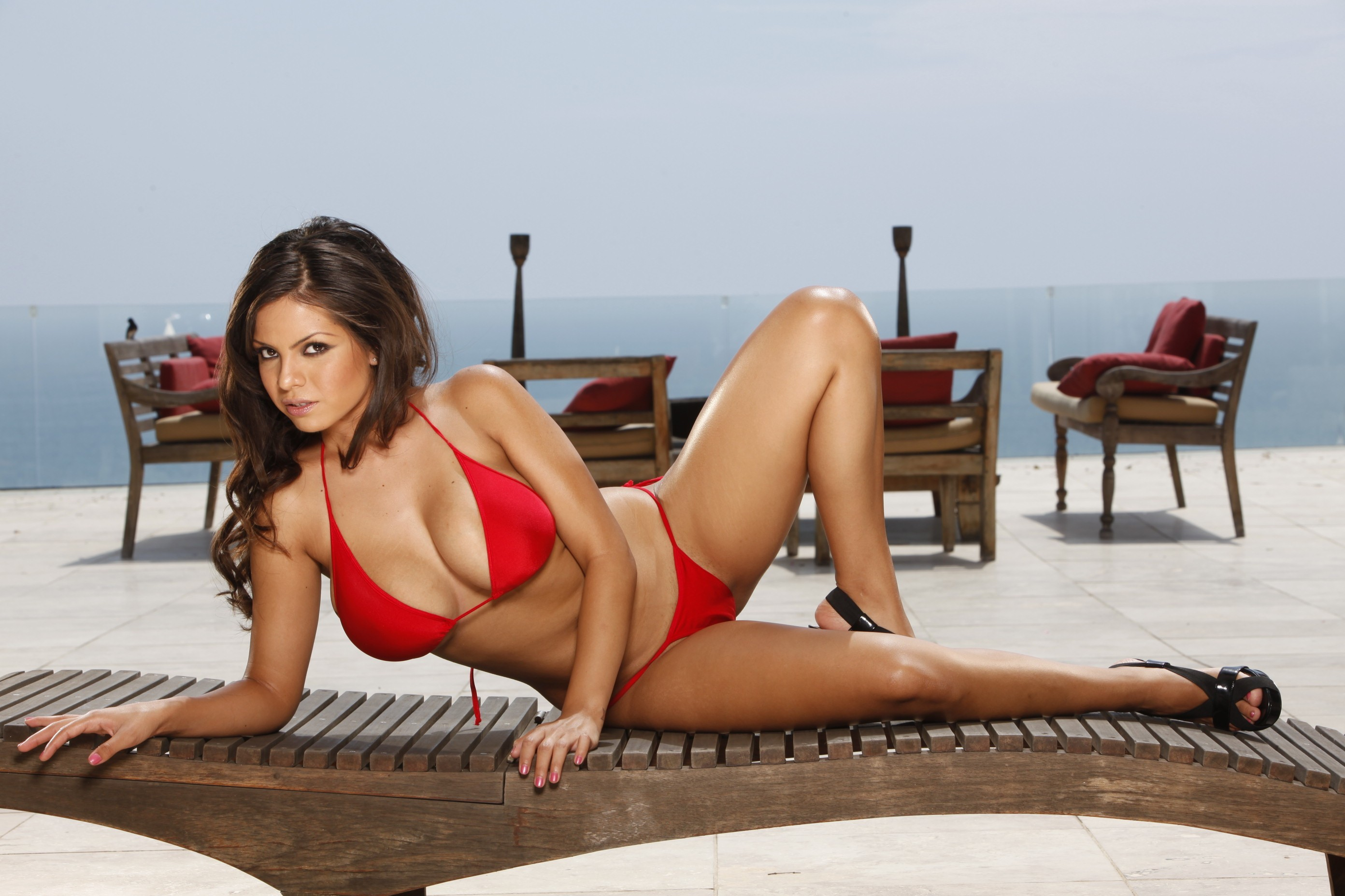 brunettes woman bikini red HD Wallpaper