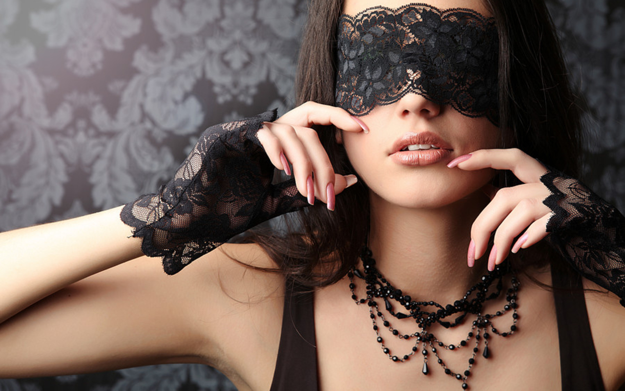 brunettes woman blindfolds necklaces