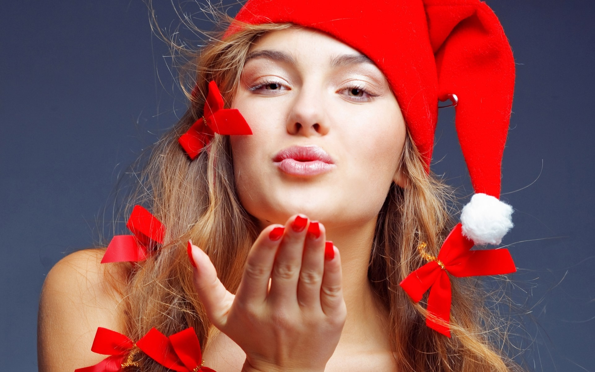 brunettes woman Christmas santa HD Wallpaper