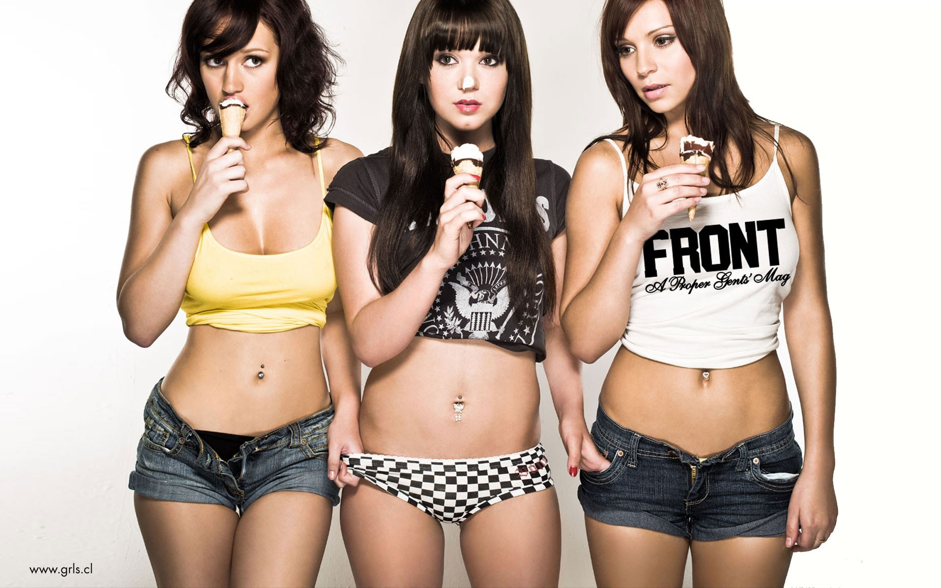 brunettes woman ice cream HD Wallpaper