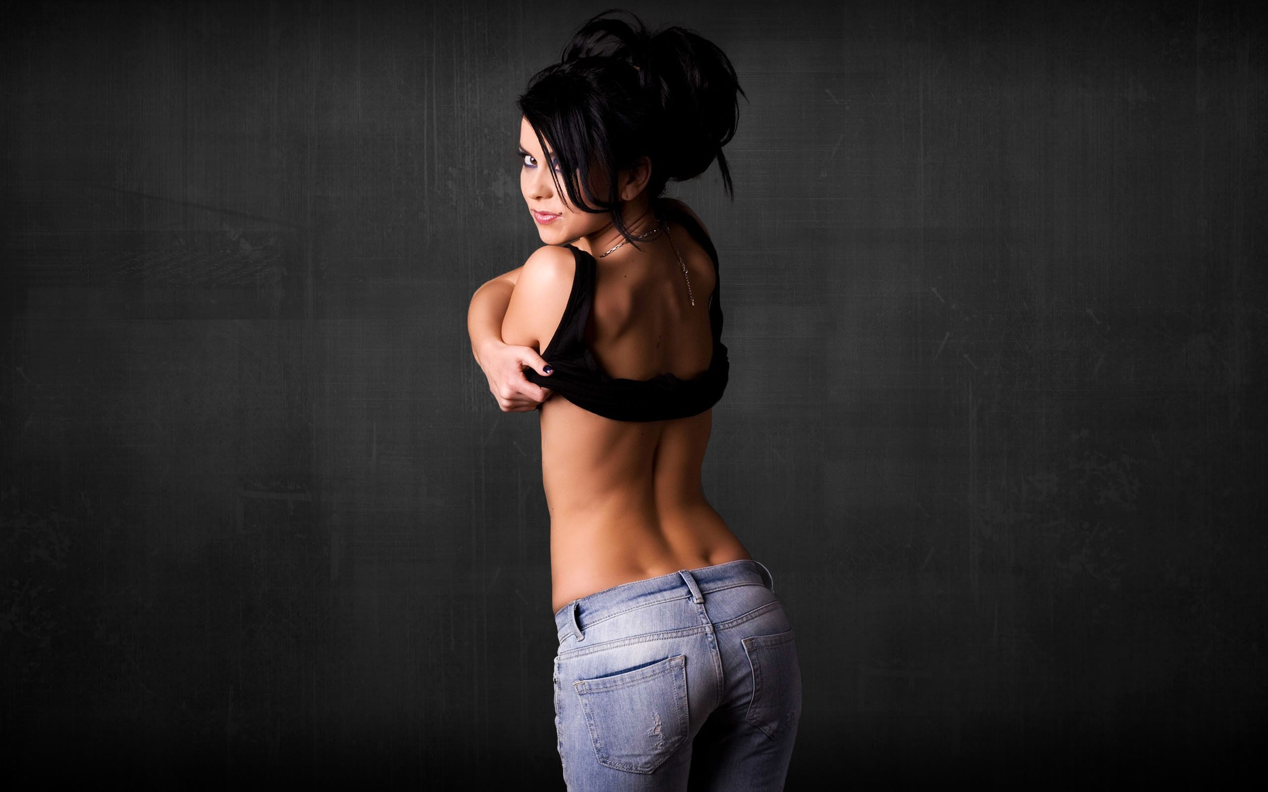 brunettes woman jeans ass HD Wallpaper