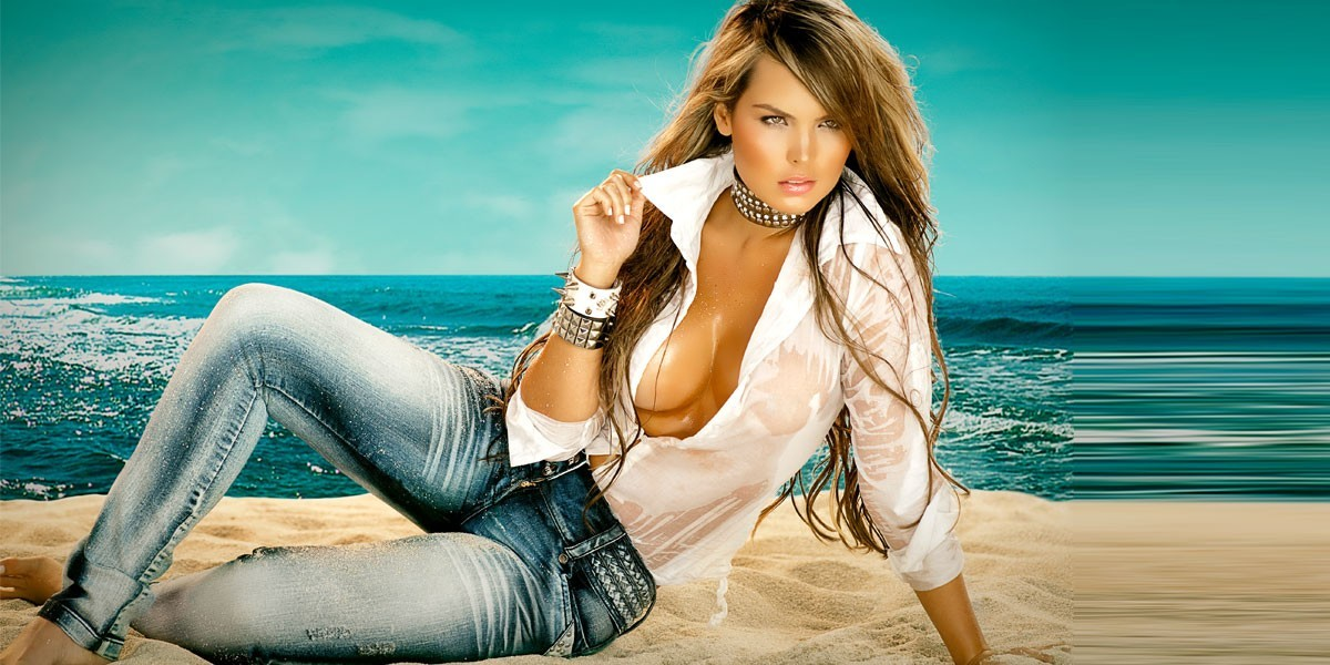 brunettes woman jeans cleavage HD Wallpaper