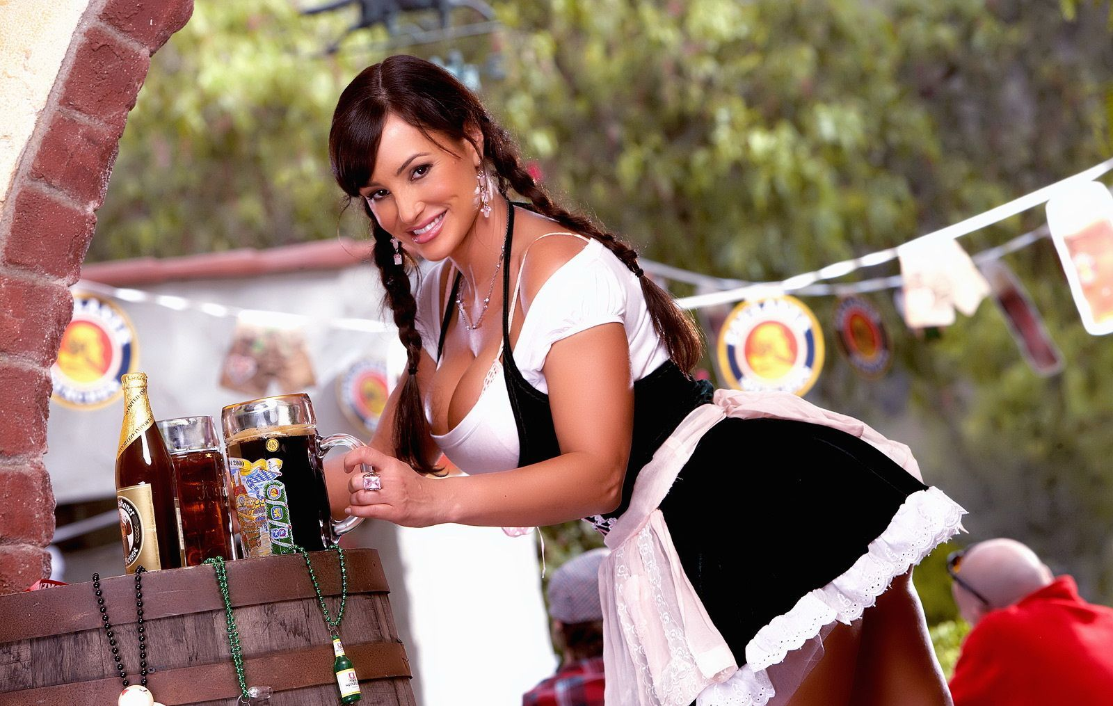 brunettes woman maids cleavage HD Wallpaper