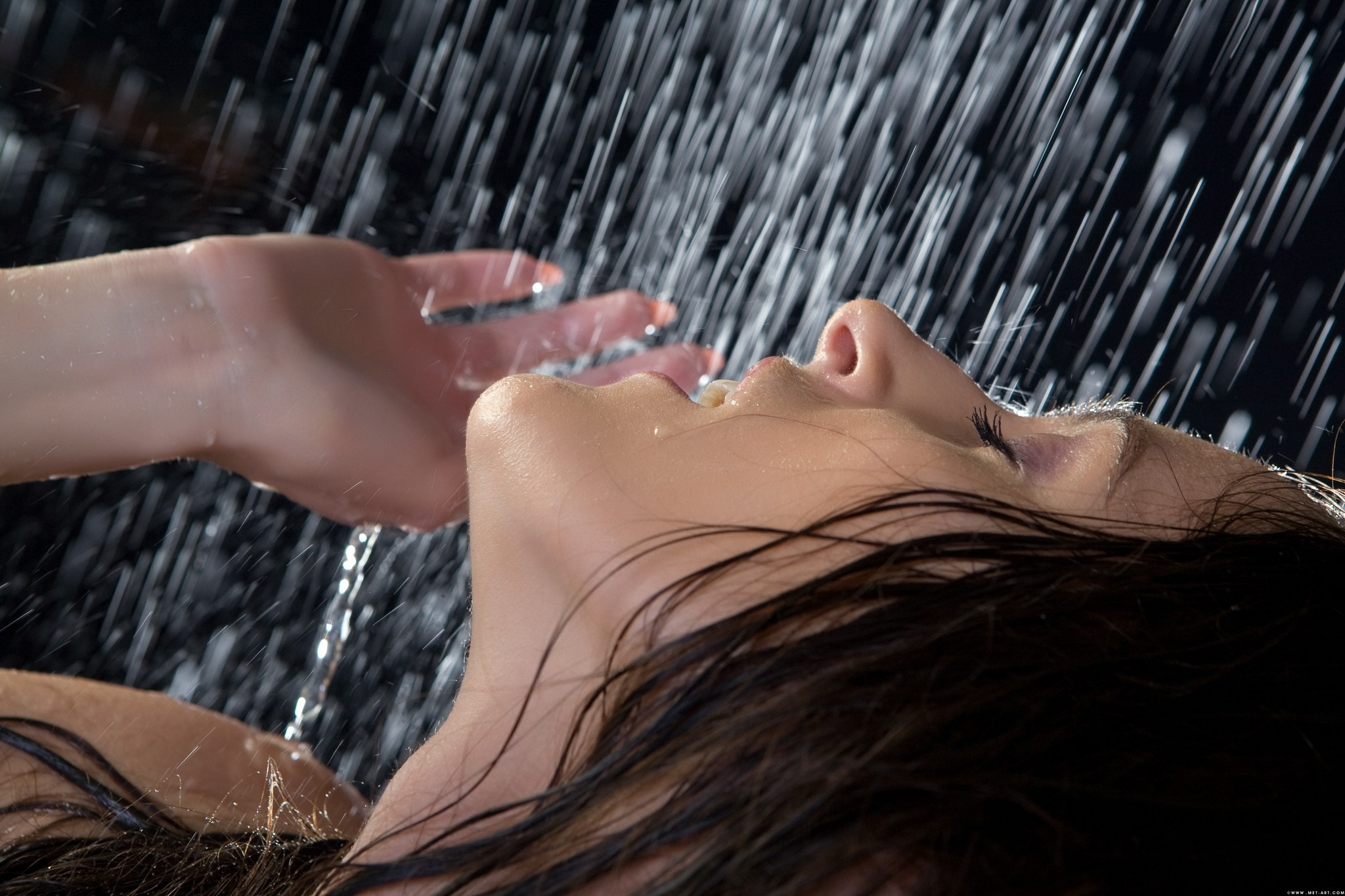 brunettes woman models wet HD Wallpaper