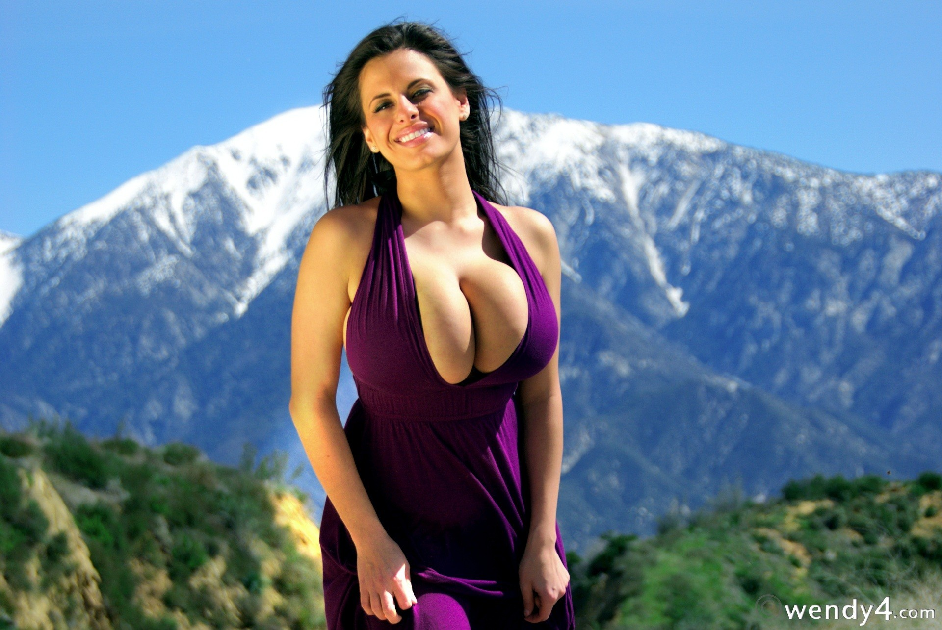 brunettes woman Mountains dress HD Wallpaper