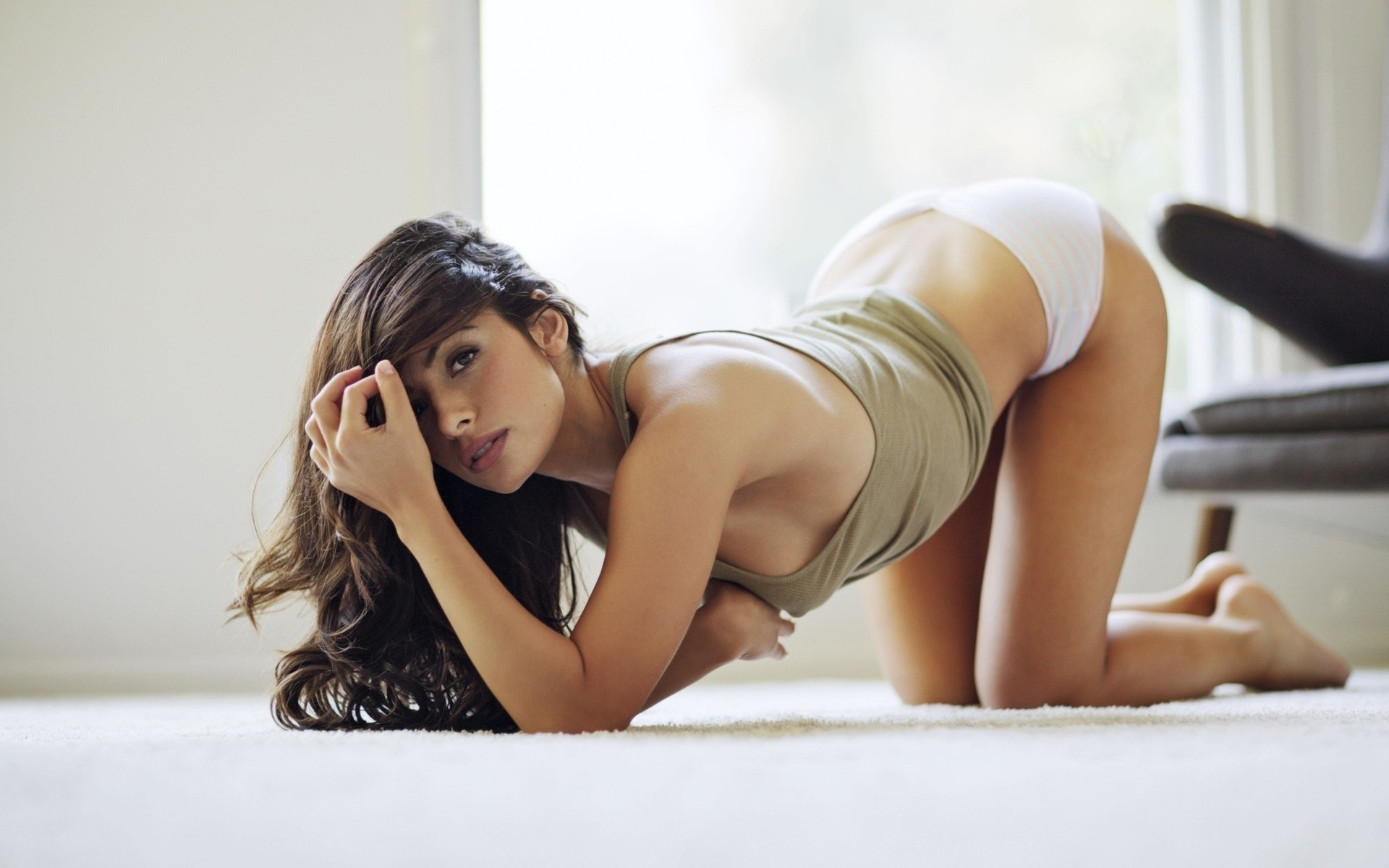 brunettes woman panties carpet HD Wallpaper