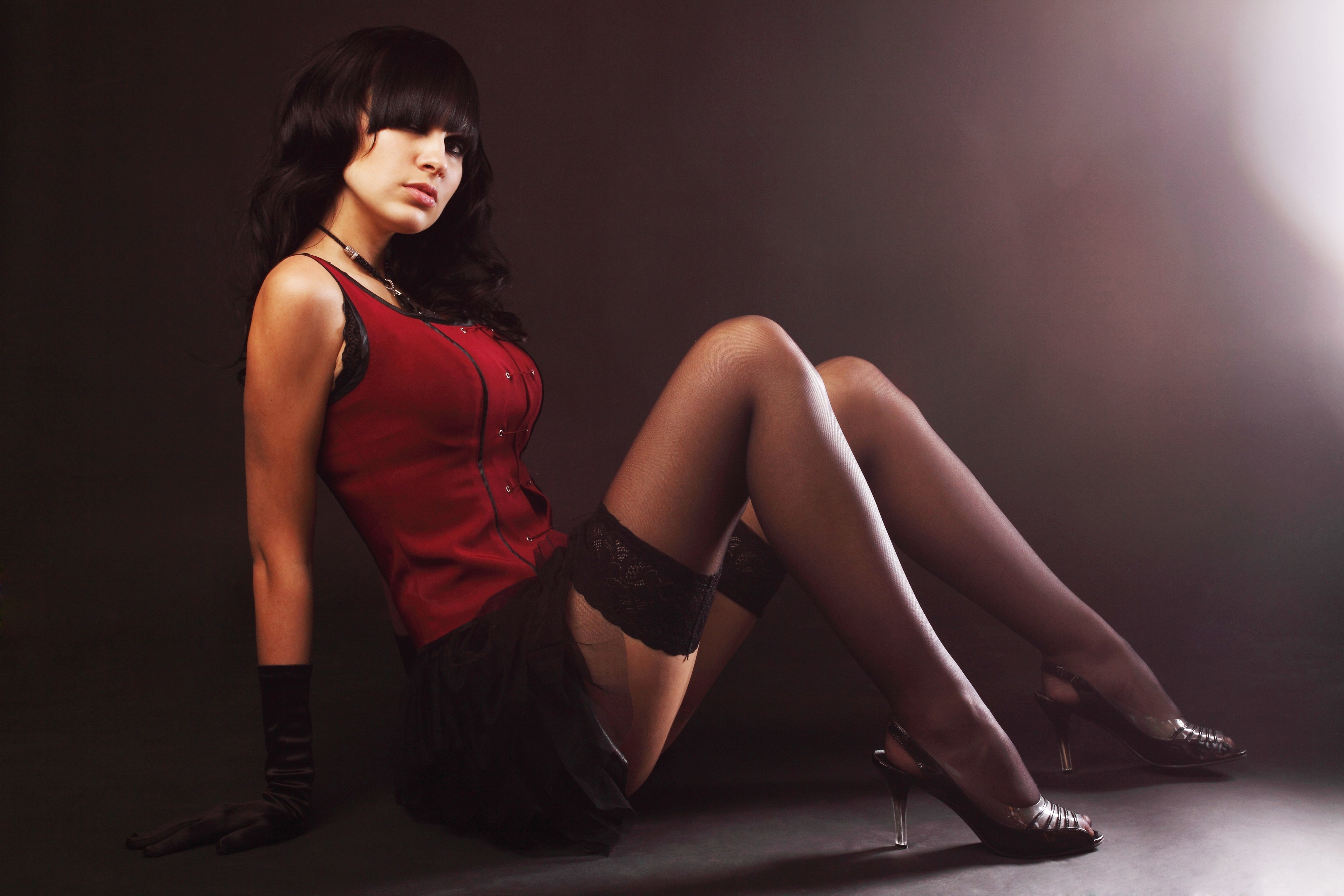 brunettes woman stockings fashion HD Wallpaper