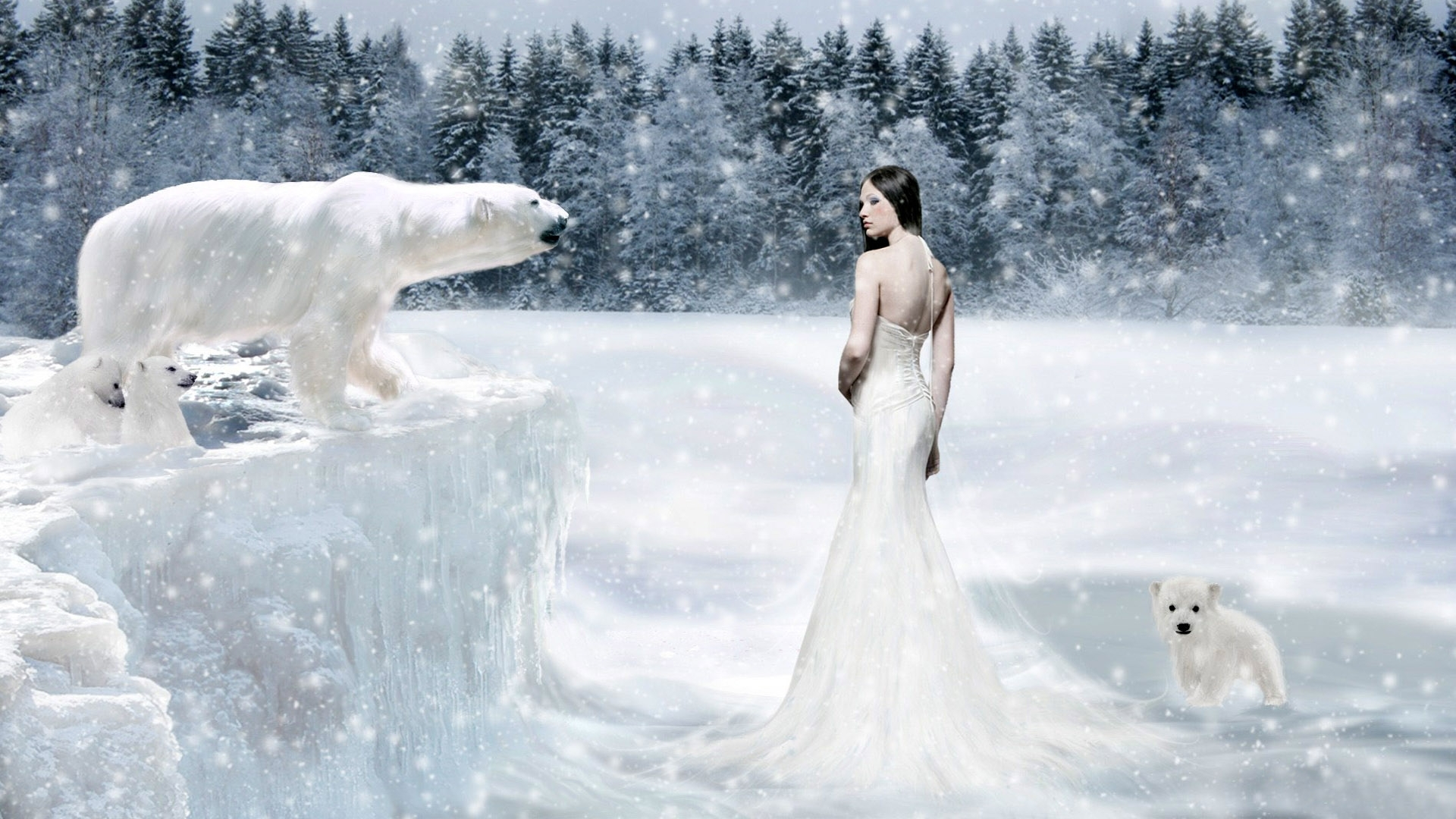 brunettes woman winter snow HD Wallpaper