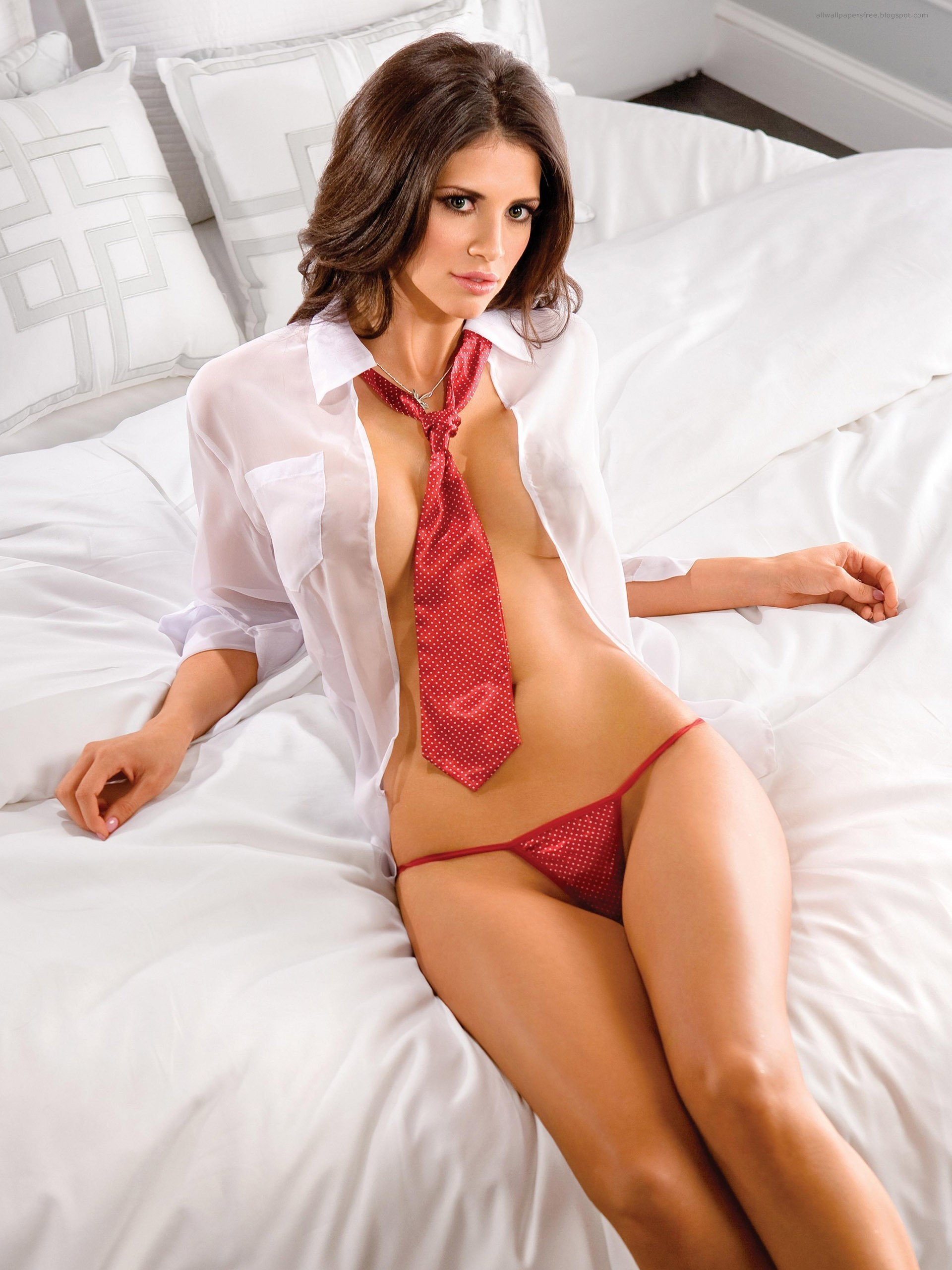 brunettes Women beds shirts HD Wallpaper