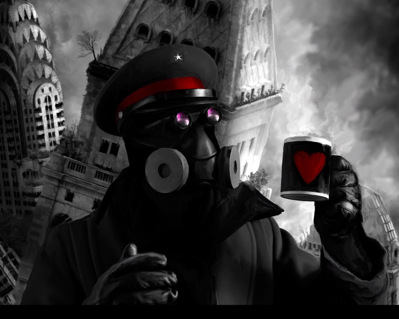 buildings gas masks mugs HD Wallpaper