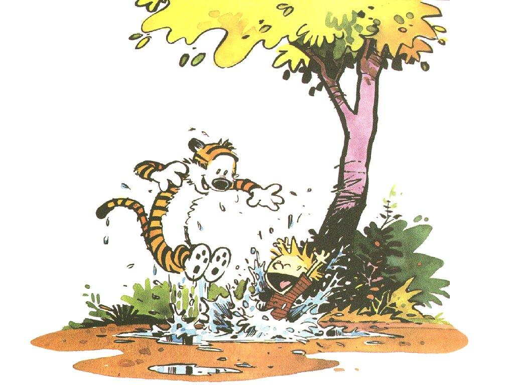 calvin and hobbes puddles HD Wallpaper
