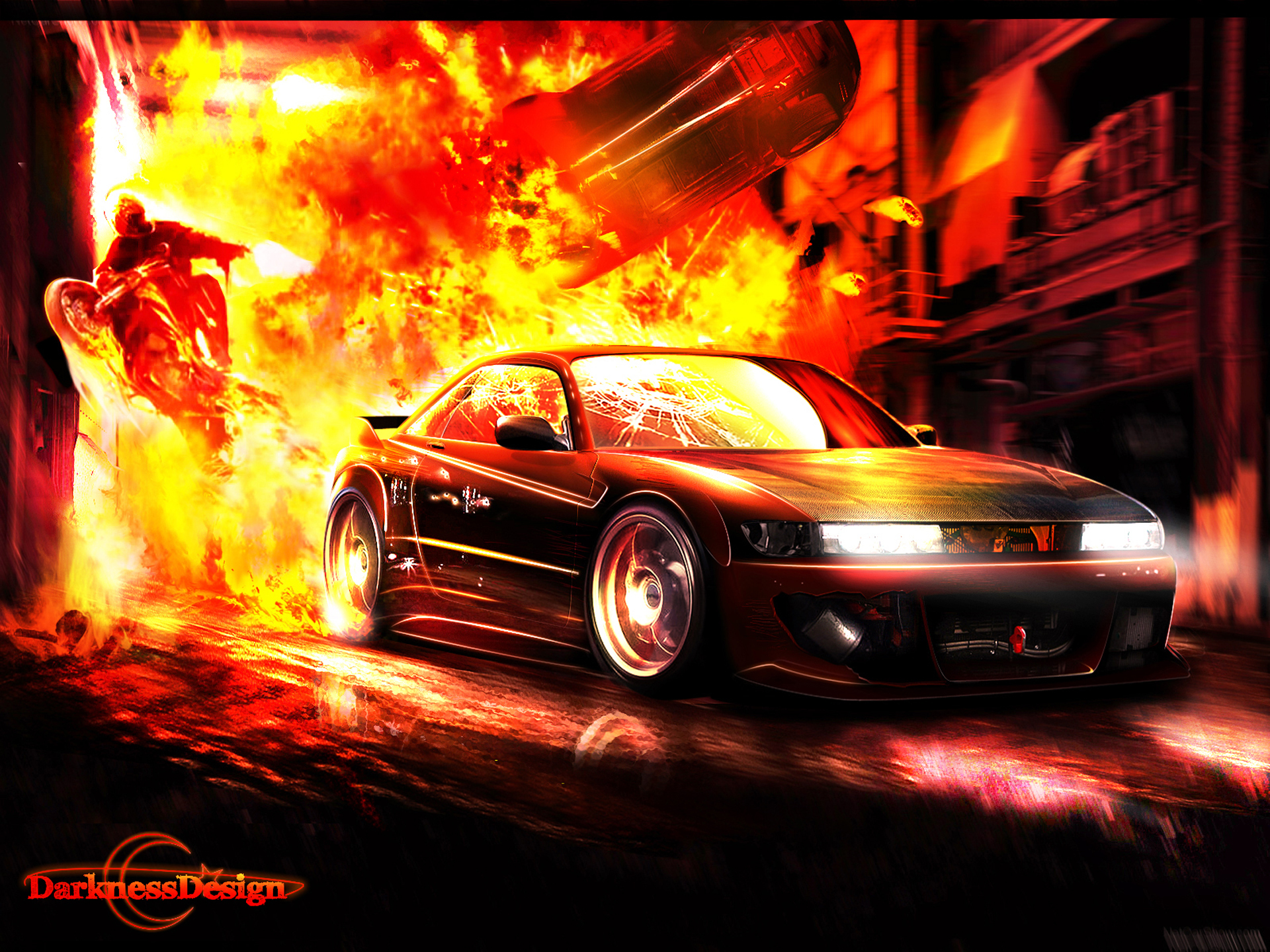 cars explosion HD Wallpaper