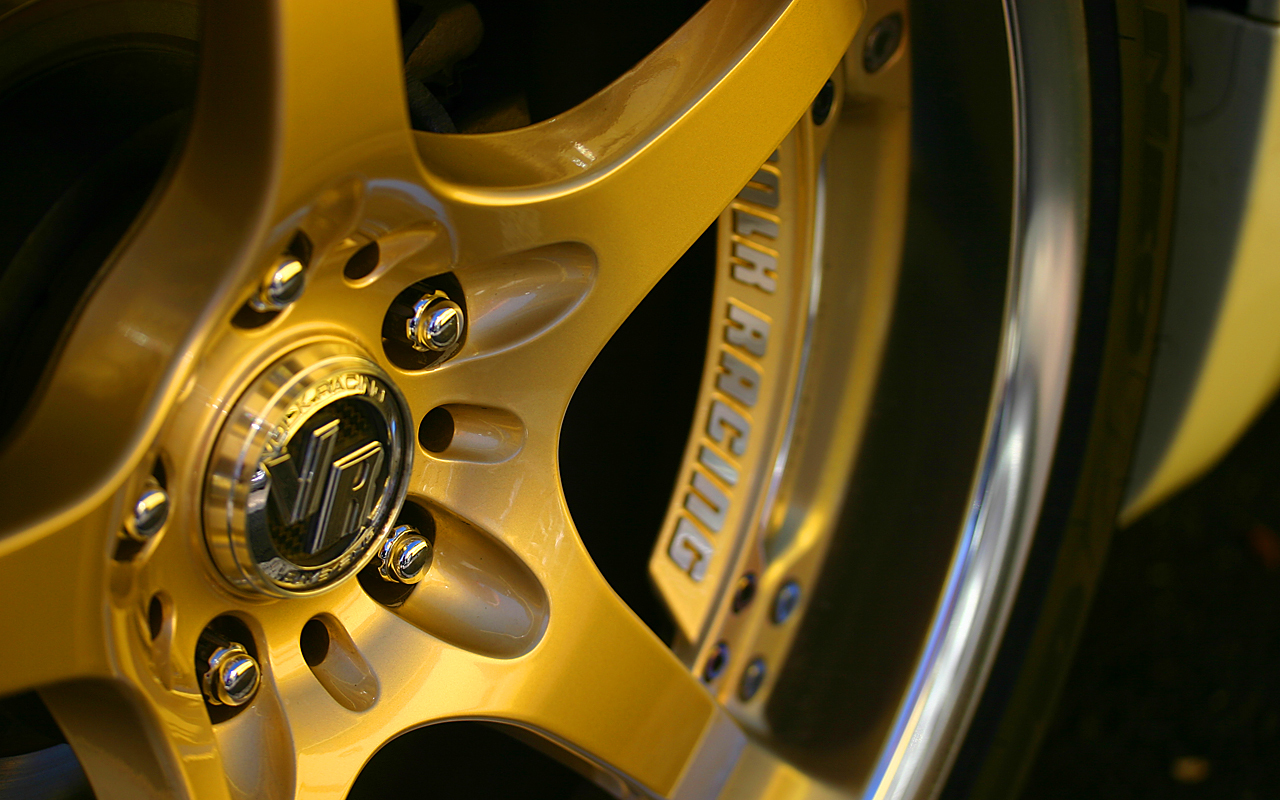 cars gold rim wheels