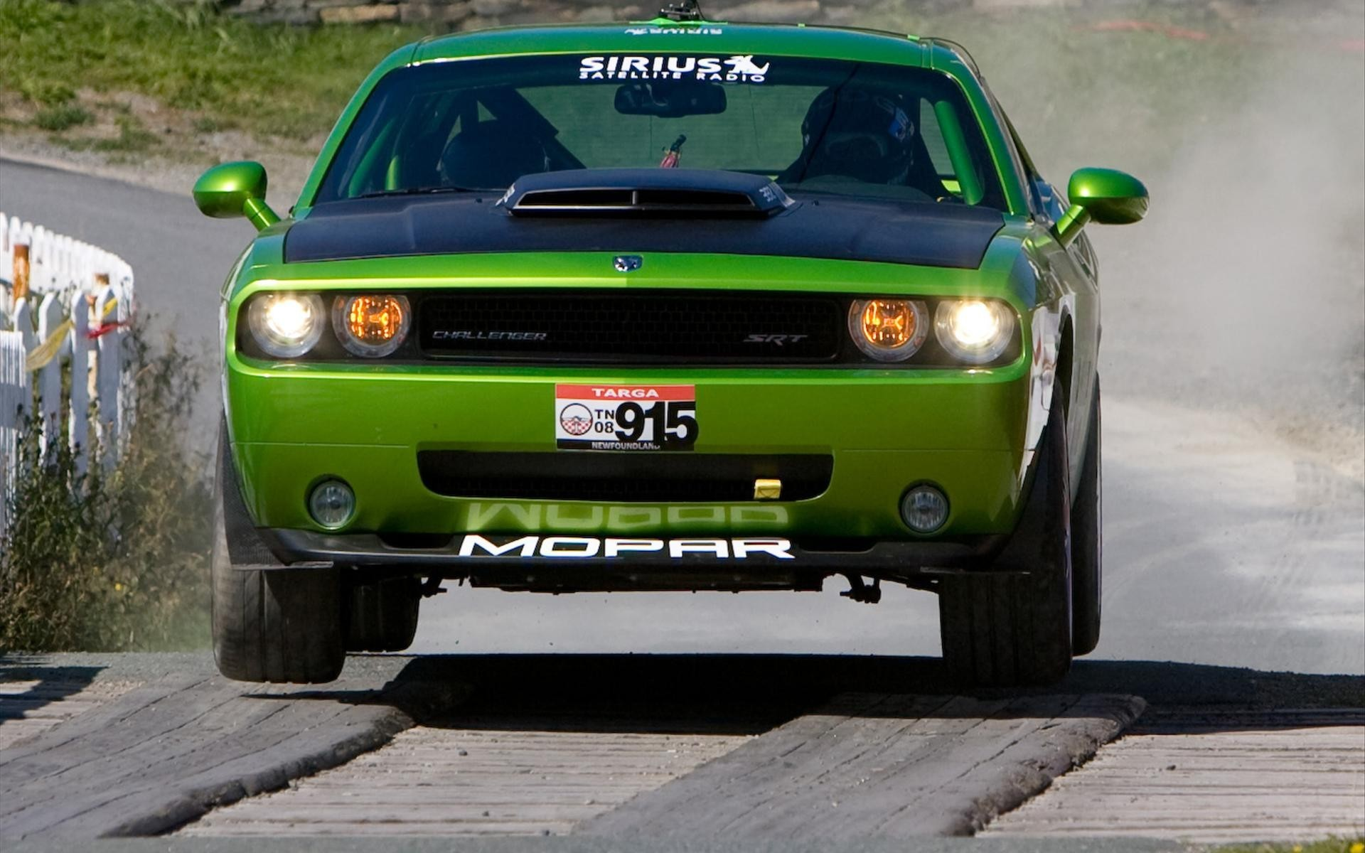 cars jumping dodge challenger HD Wallpaper