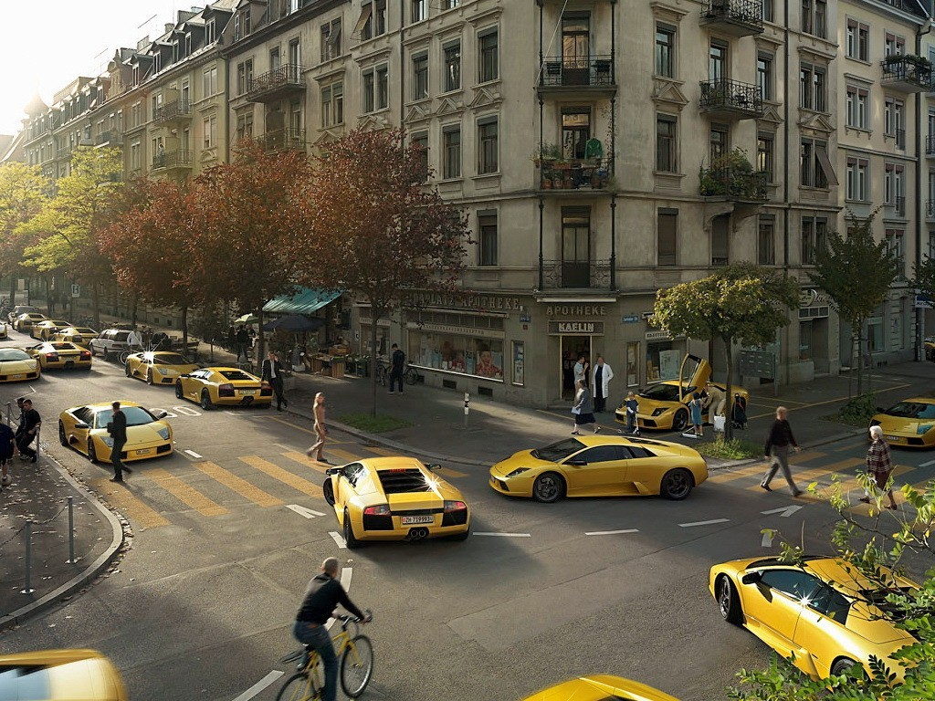 cars lamborghini murcielago yellow HD Wallpaper
