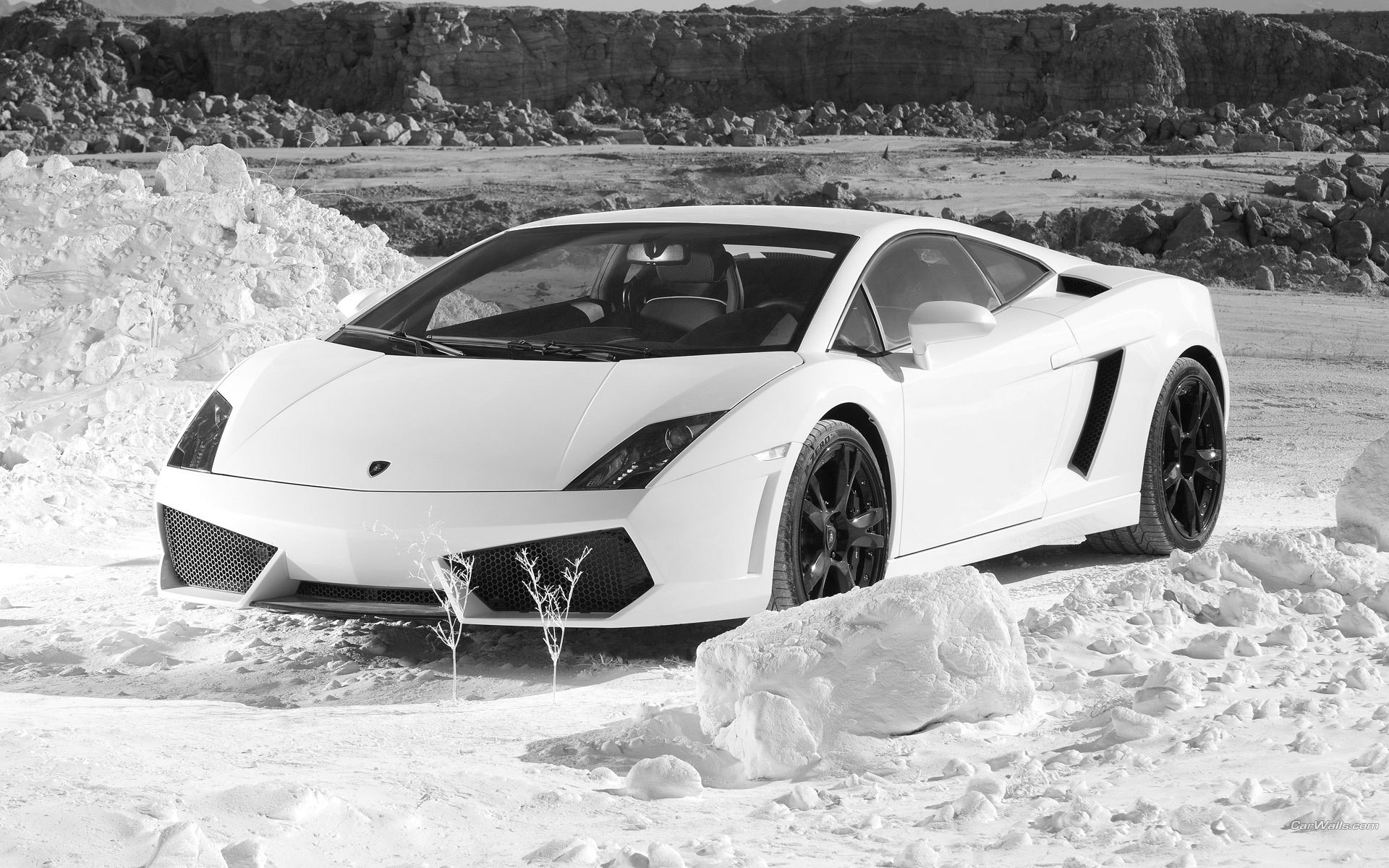 cars Lamborghini rocks monochrome HD Wallpaper