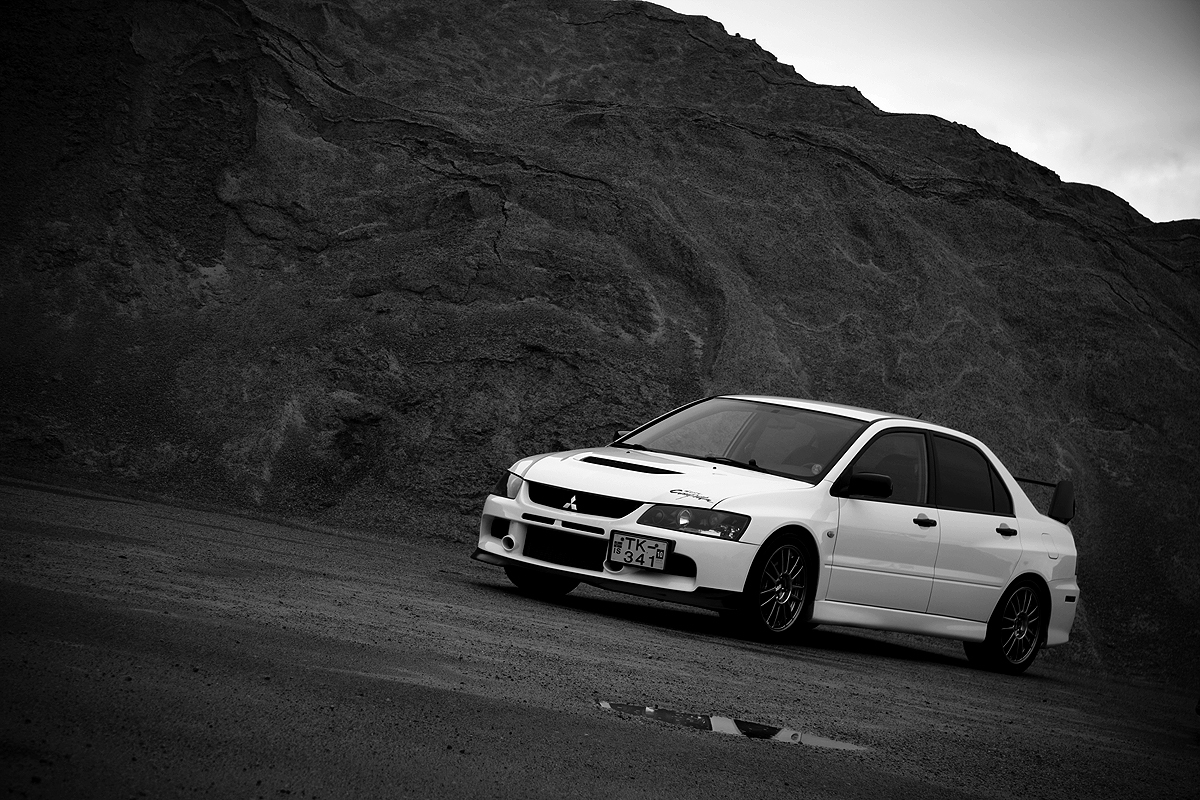 cars Mitsubishi front grayscale HD Wallpaper