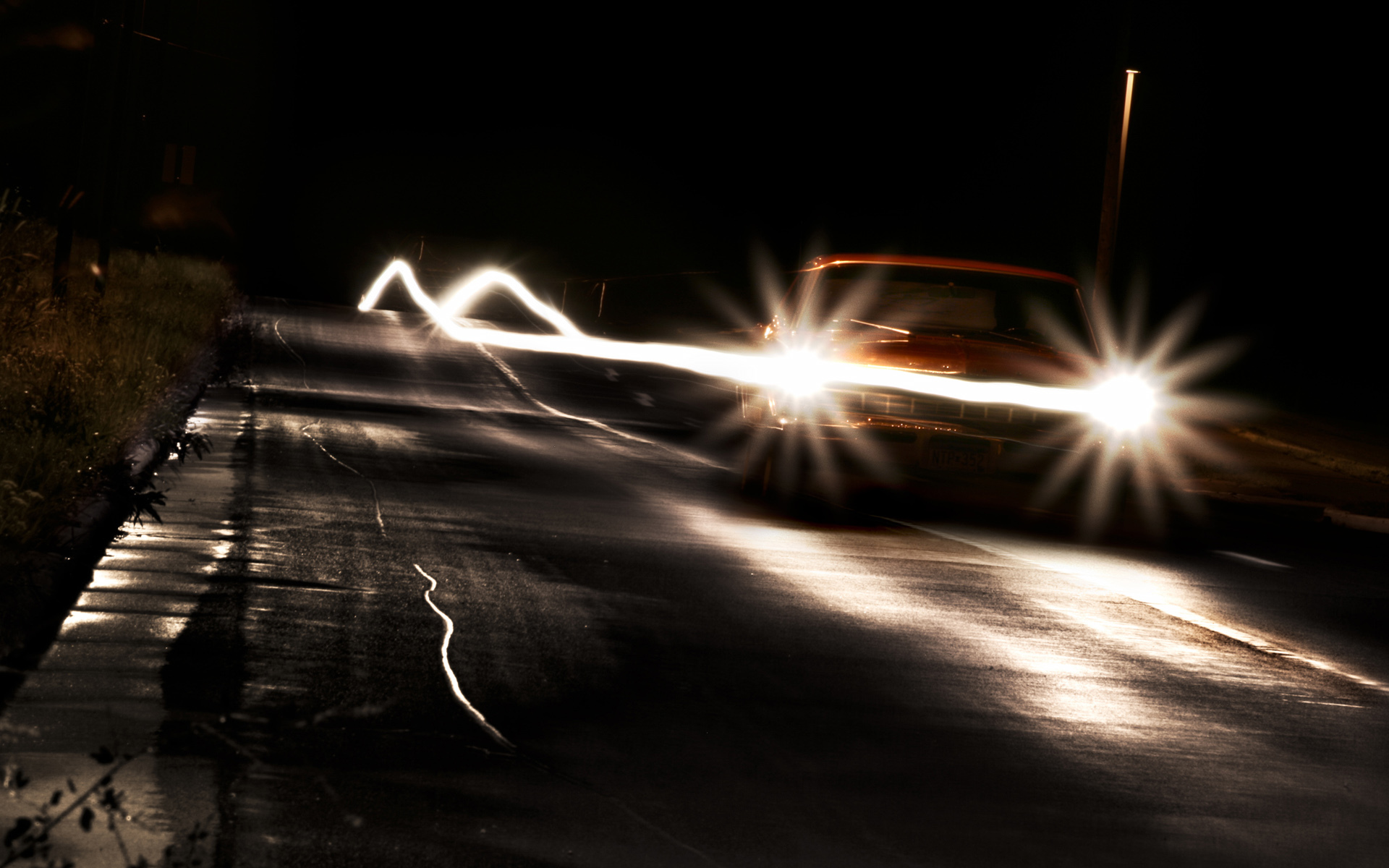 cars roads night HD Wallpaper