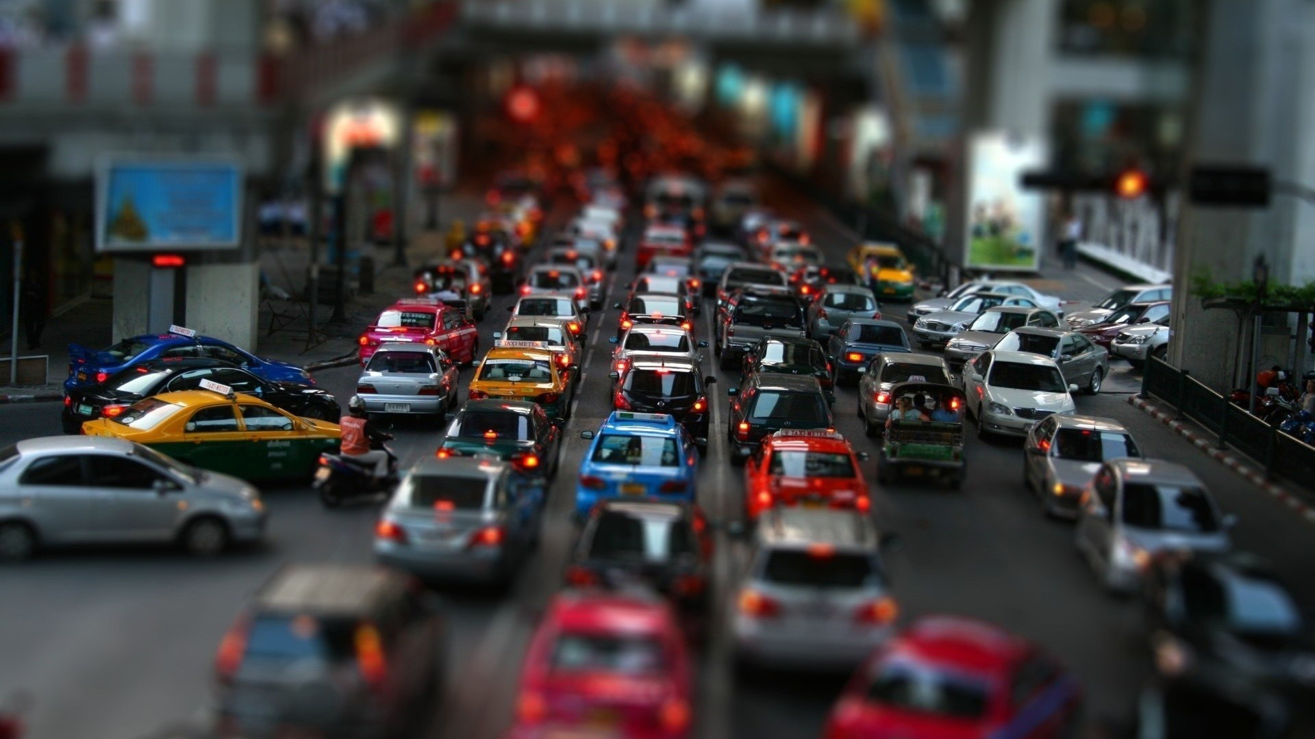 cars streets cityscapes tilt-shift HD Wallpaper
