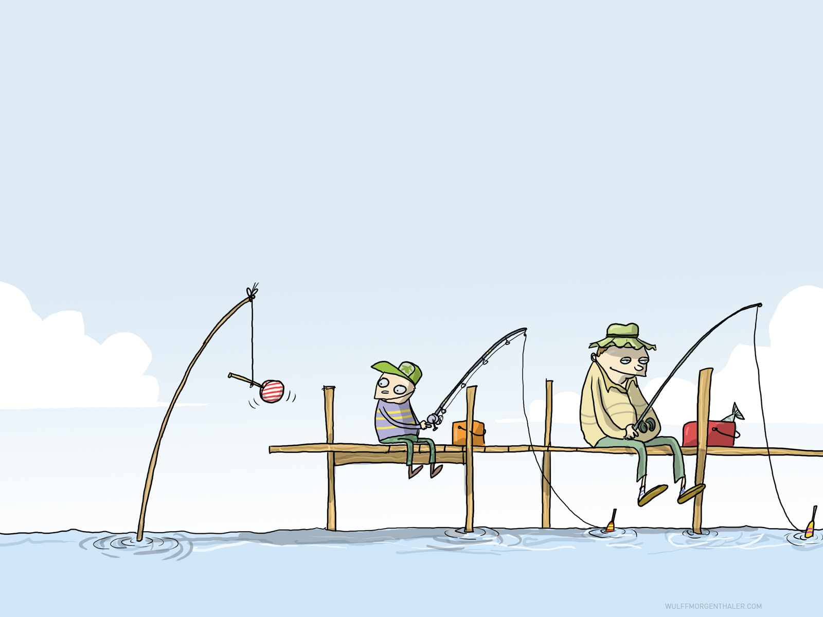cartoons funny fishing Wulffmorgenthaler HD Wallpaper