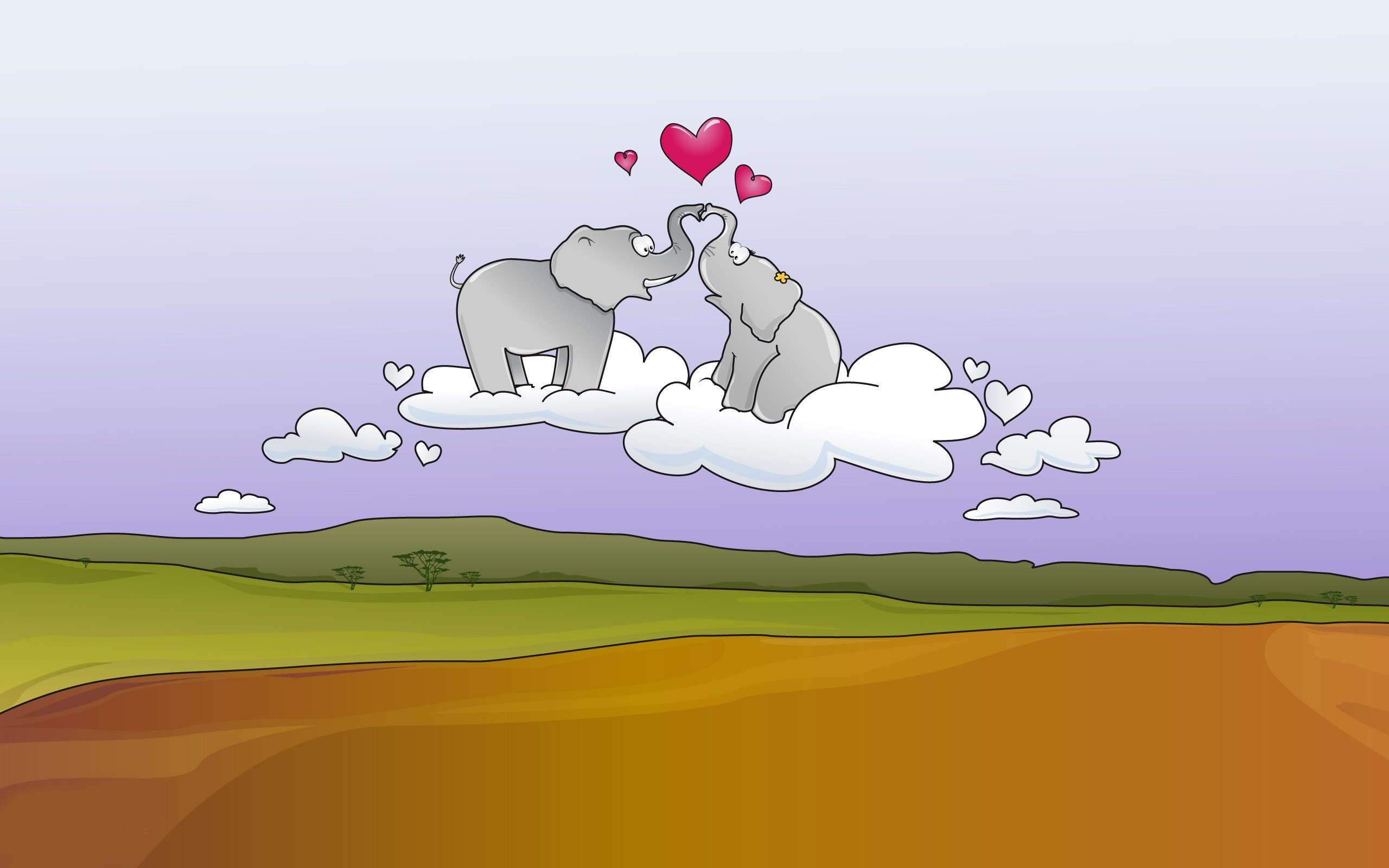 cartoons love elephants HD Wallpaper