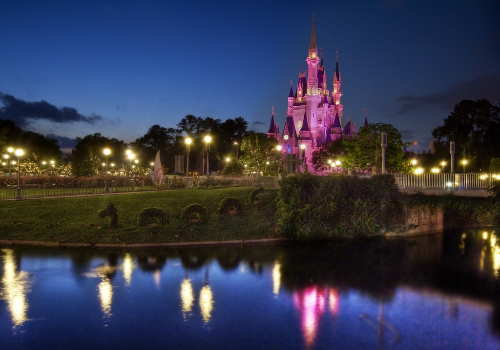 Castles cityscapes Garden Disneyland HD Wallpaper