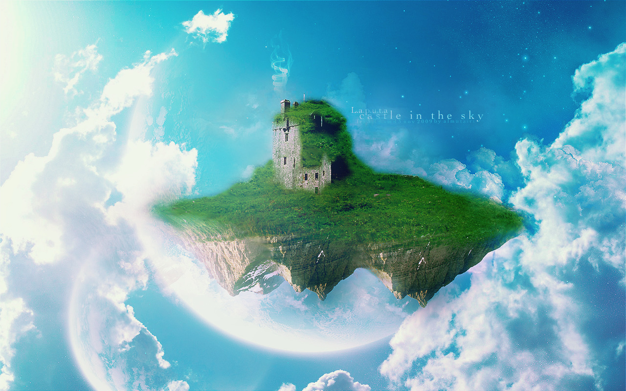Castles skyscapes photo manipulation HD Wallpaper