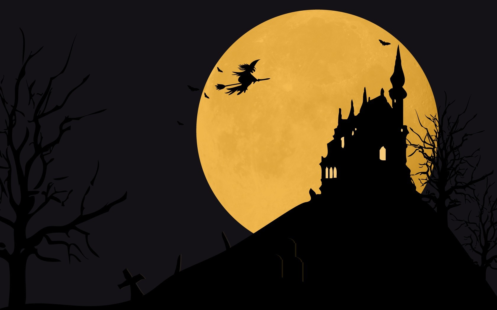 Castles Trees Halloween moon HD Wallpaper