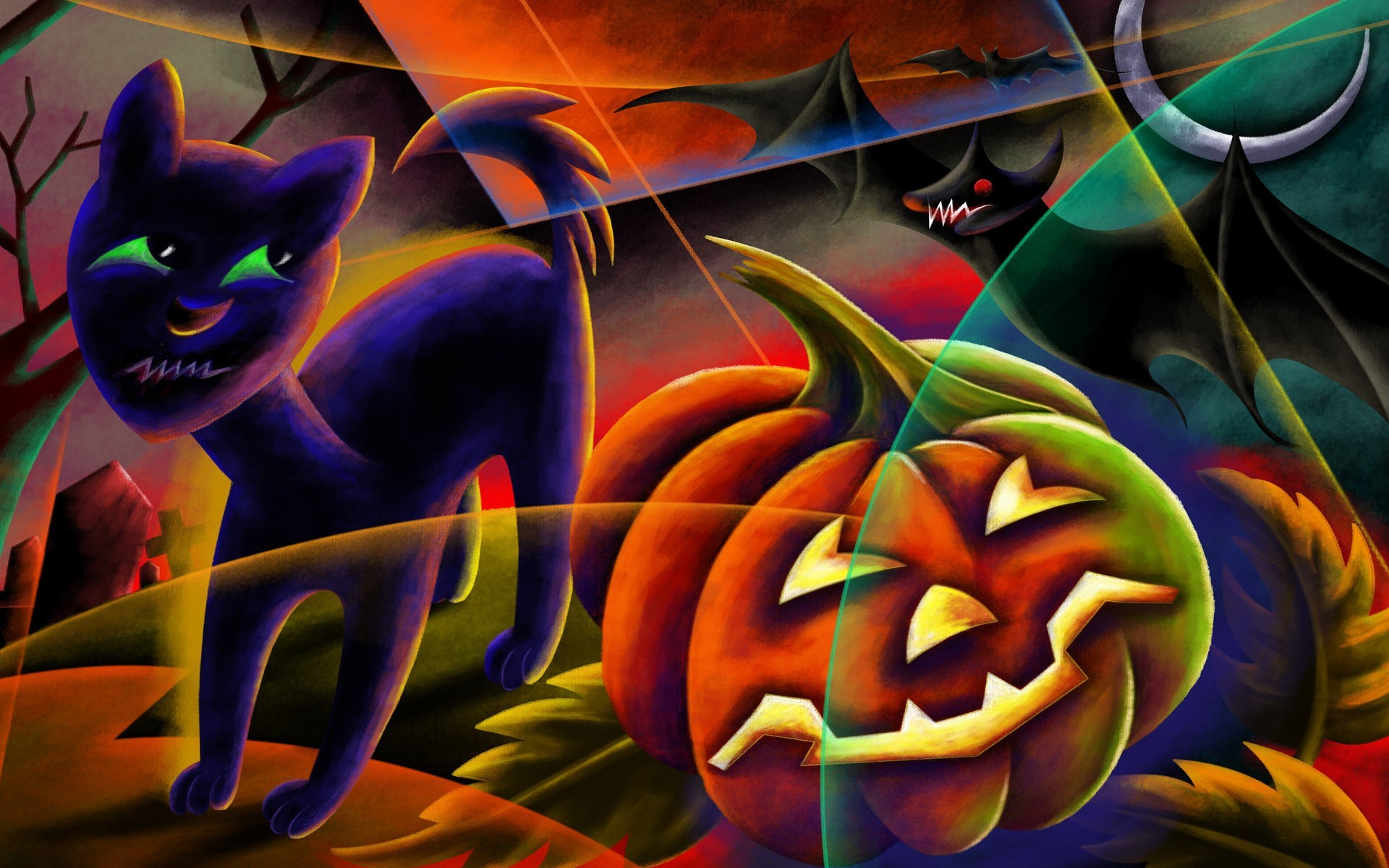 cats Halloween pumpkins artwork HD Wallpaper