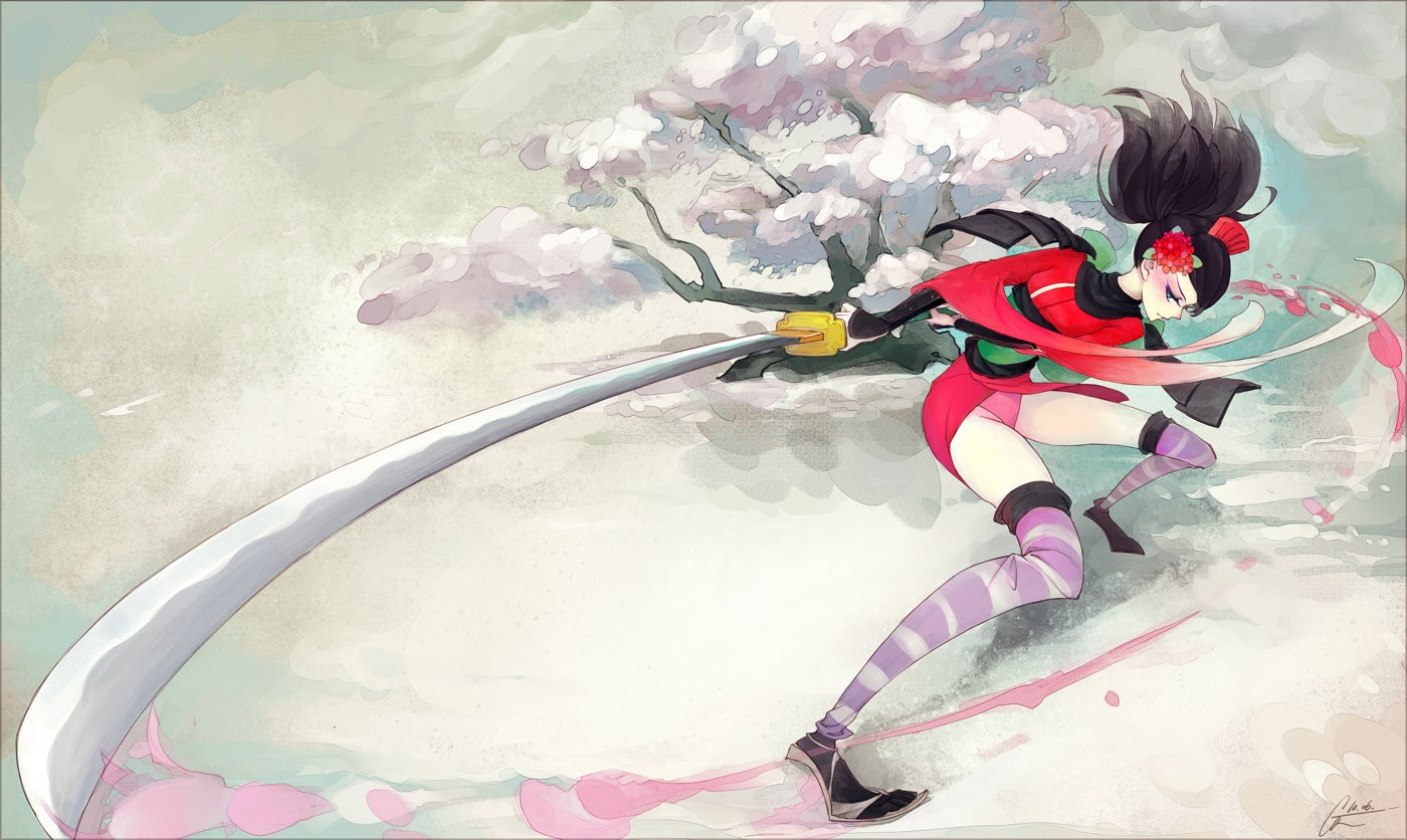 cherry blossoms Momohime thigh HD Wallpaper