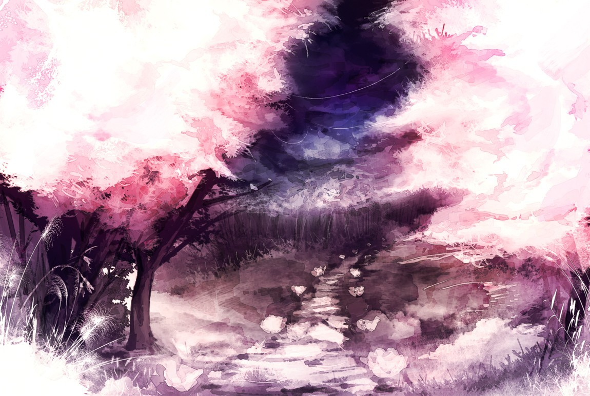 cherry blossoms Trees artwork HD Wallpaper