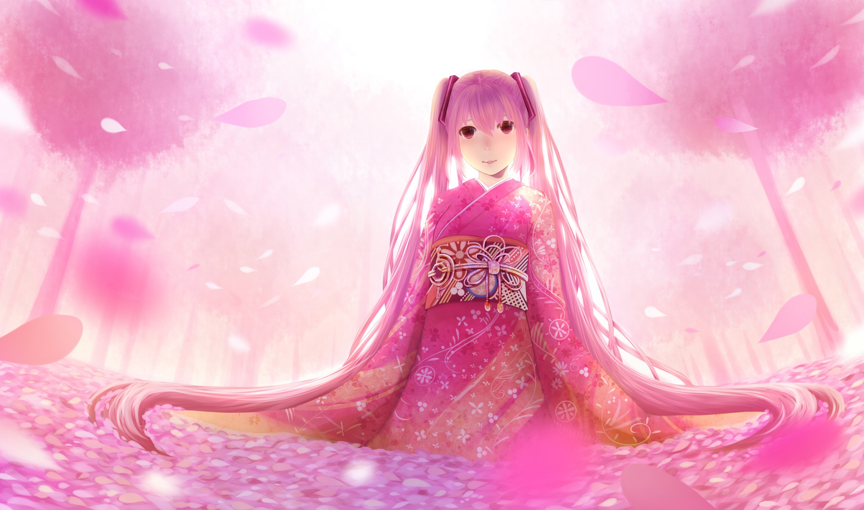cherry blossoms Trees vocaloid HD Wallpaper