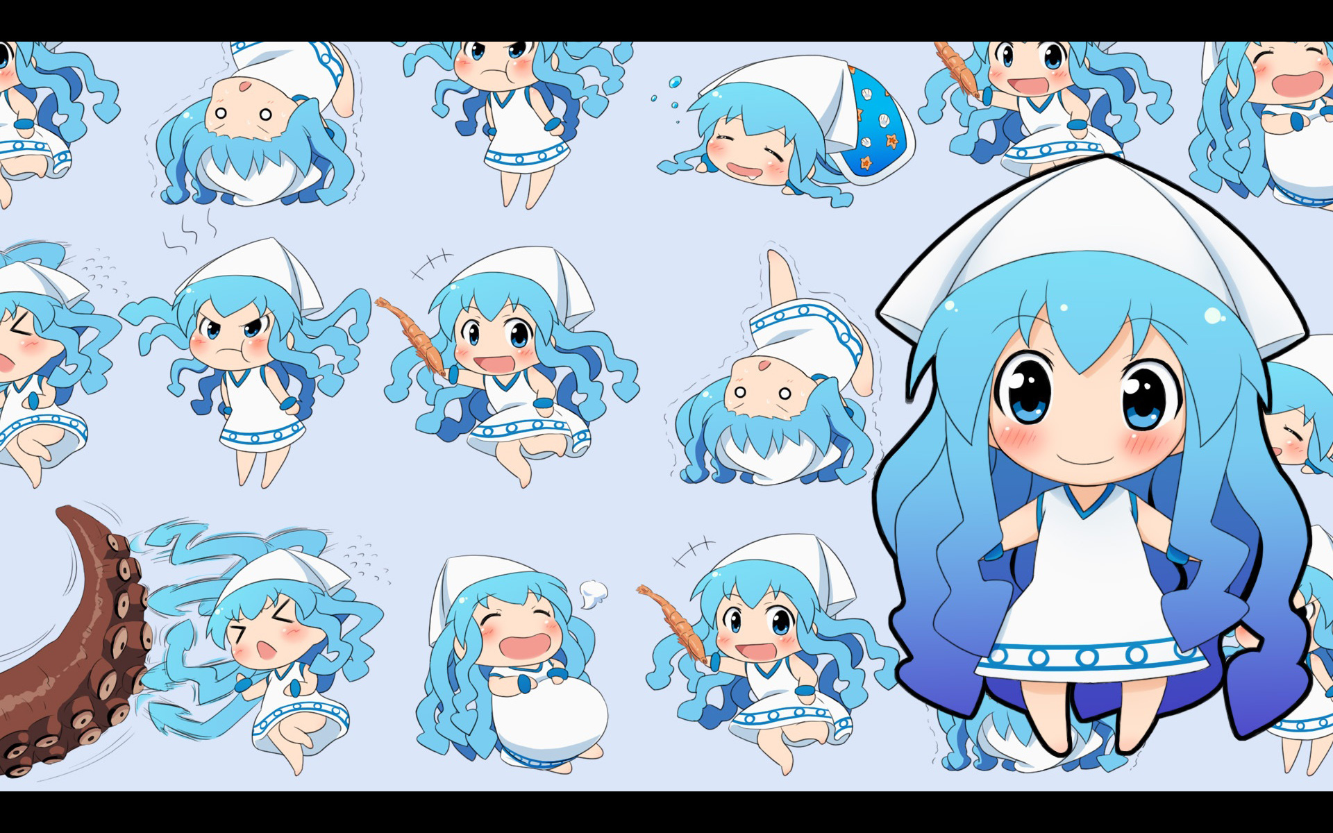 Chibi blue hair ika HD Wallpaper