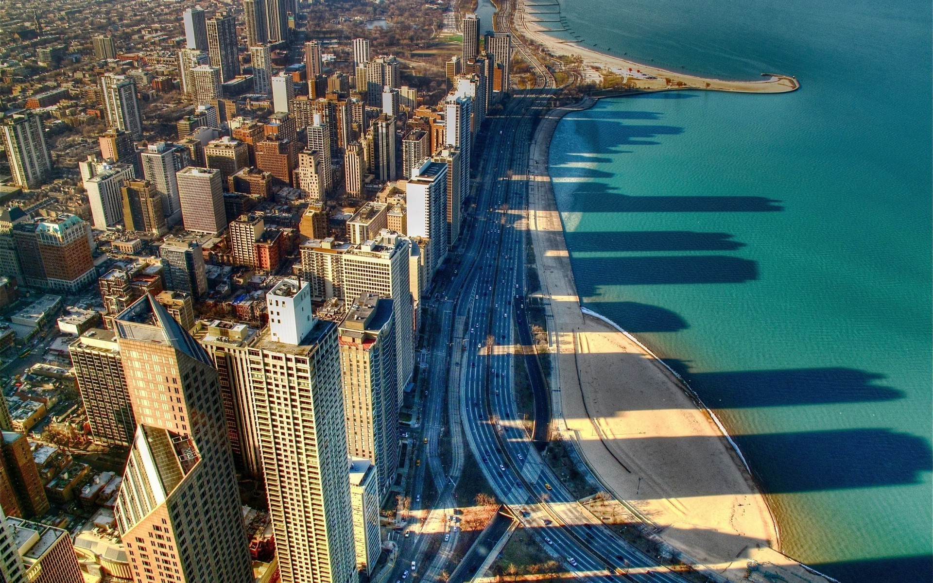 Chicago USA lake michigan cityscapes HD Wallpaper