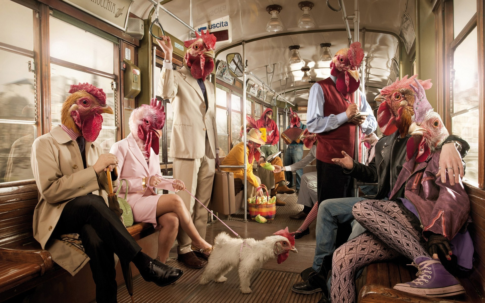 chicken Men funny subway HD Wallpaper